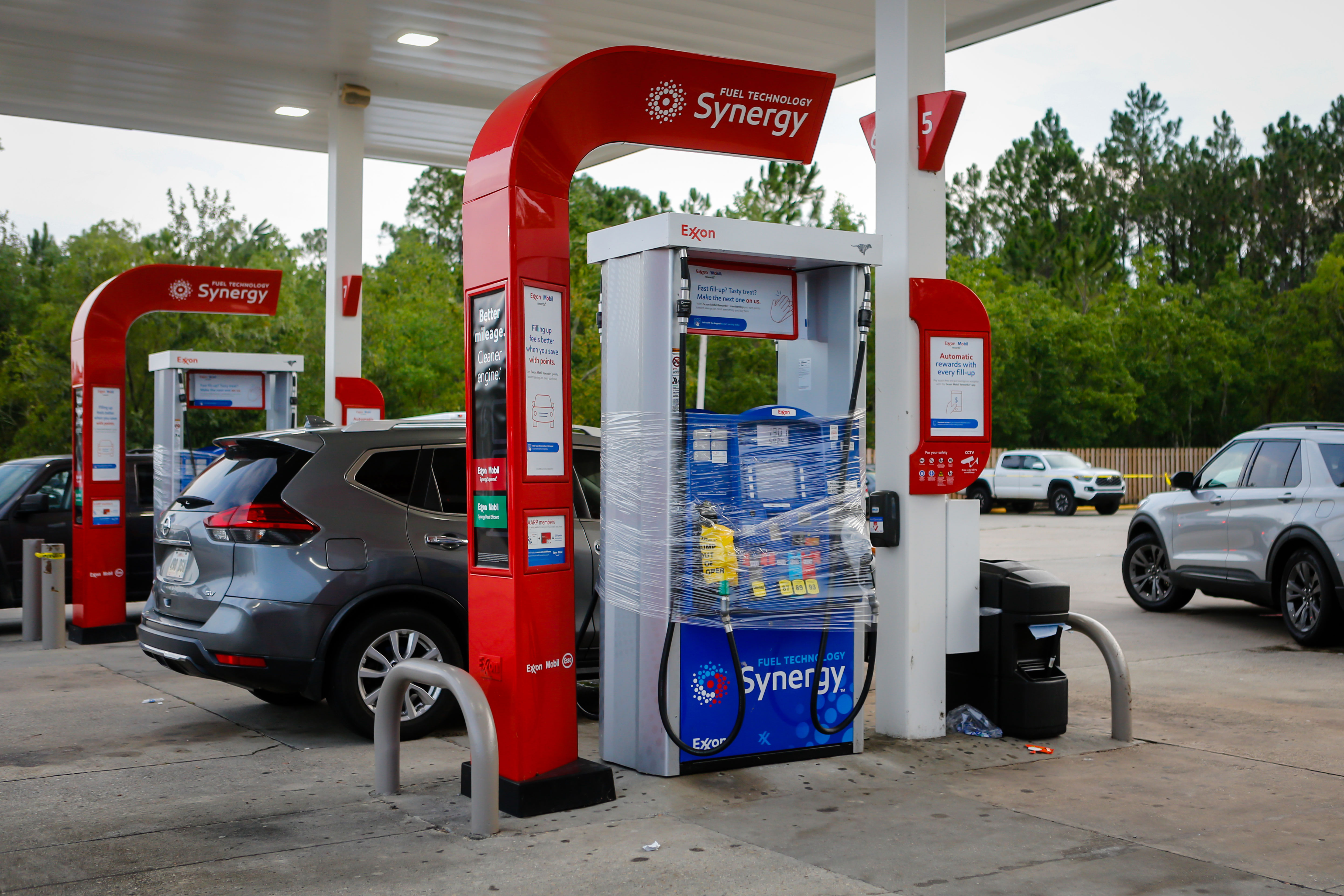 A pump is out of service at a gas station in Hancock County, Mississippi, on September 1.
