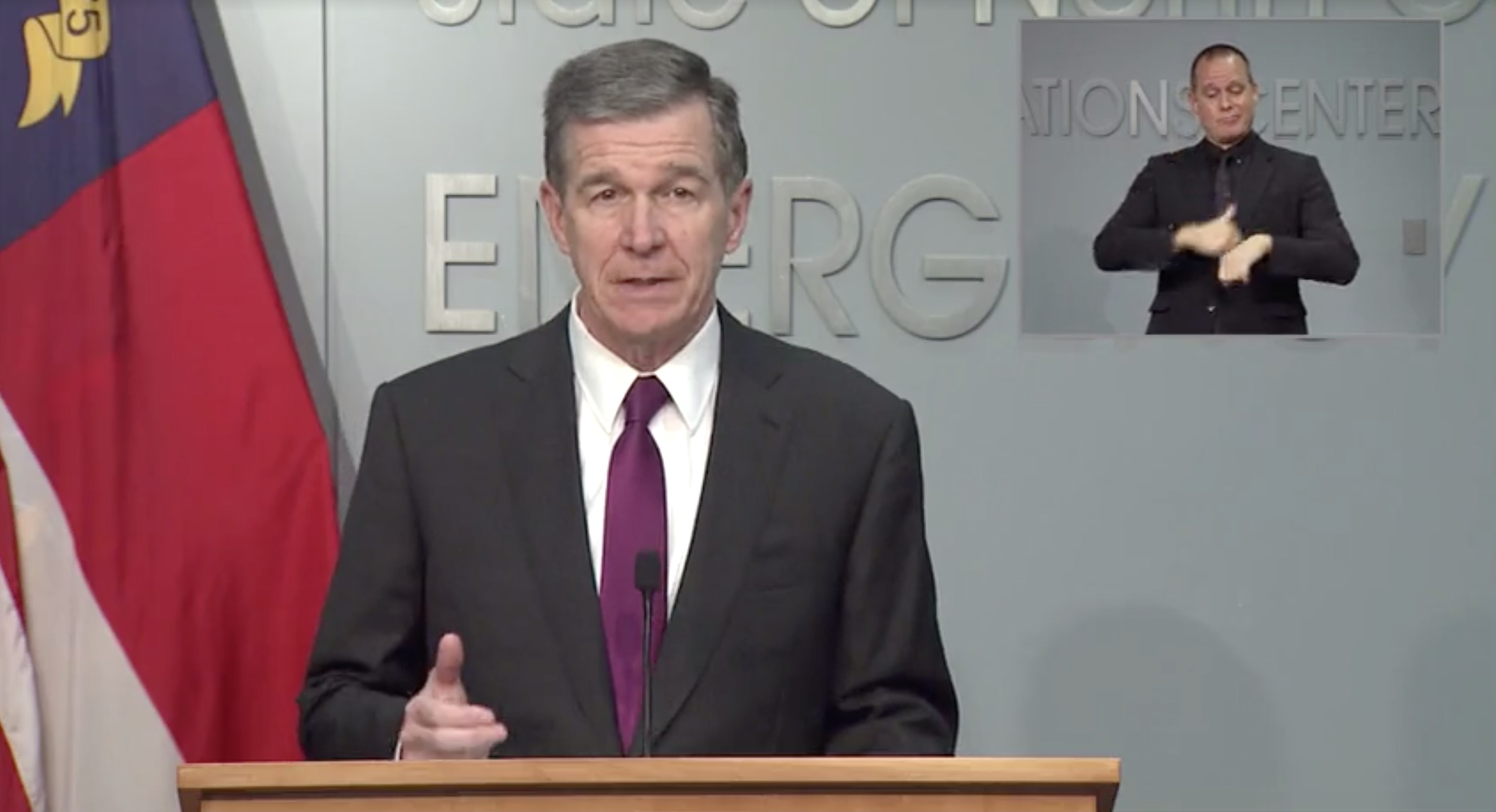 North Carolina Gov. Roy Cooper speaks during a press conference on September 22.