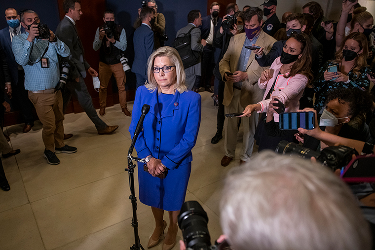 Cheney offers brief remarks and fields questions from reporters following the House GOP Conference vote on Wednesday, May 12.