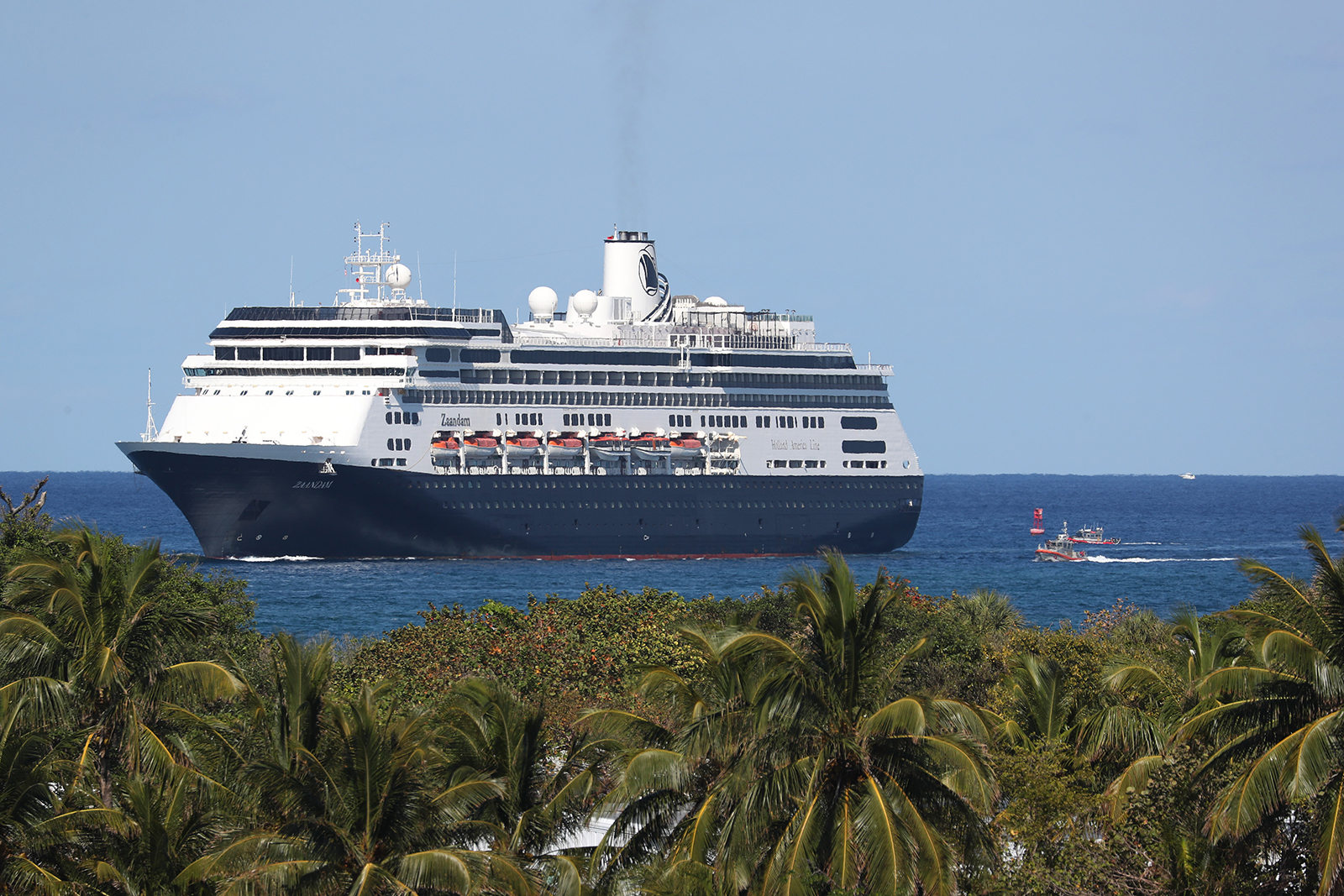 The Zaandam cruise ship prepares to come into Port Everglades on April 2, in Fort Lauderdale, Florida.