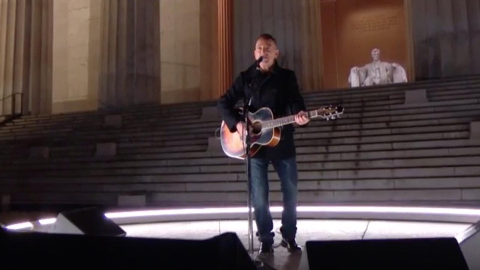 Bruce Springsteen performs at the Celebrating America concert special at the Lincoln Memorial in Washington.