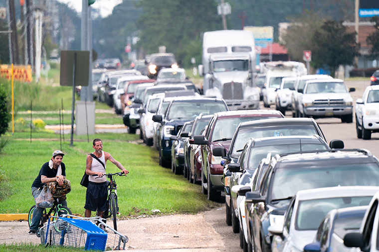 Motorists wait in line for gas after Hurricane Ida on September 1,  in Hammond, Louisiana.