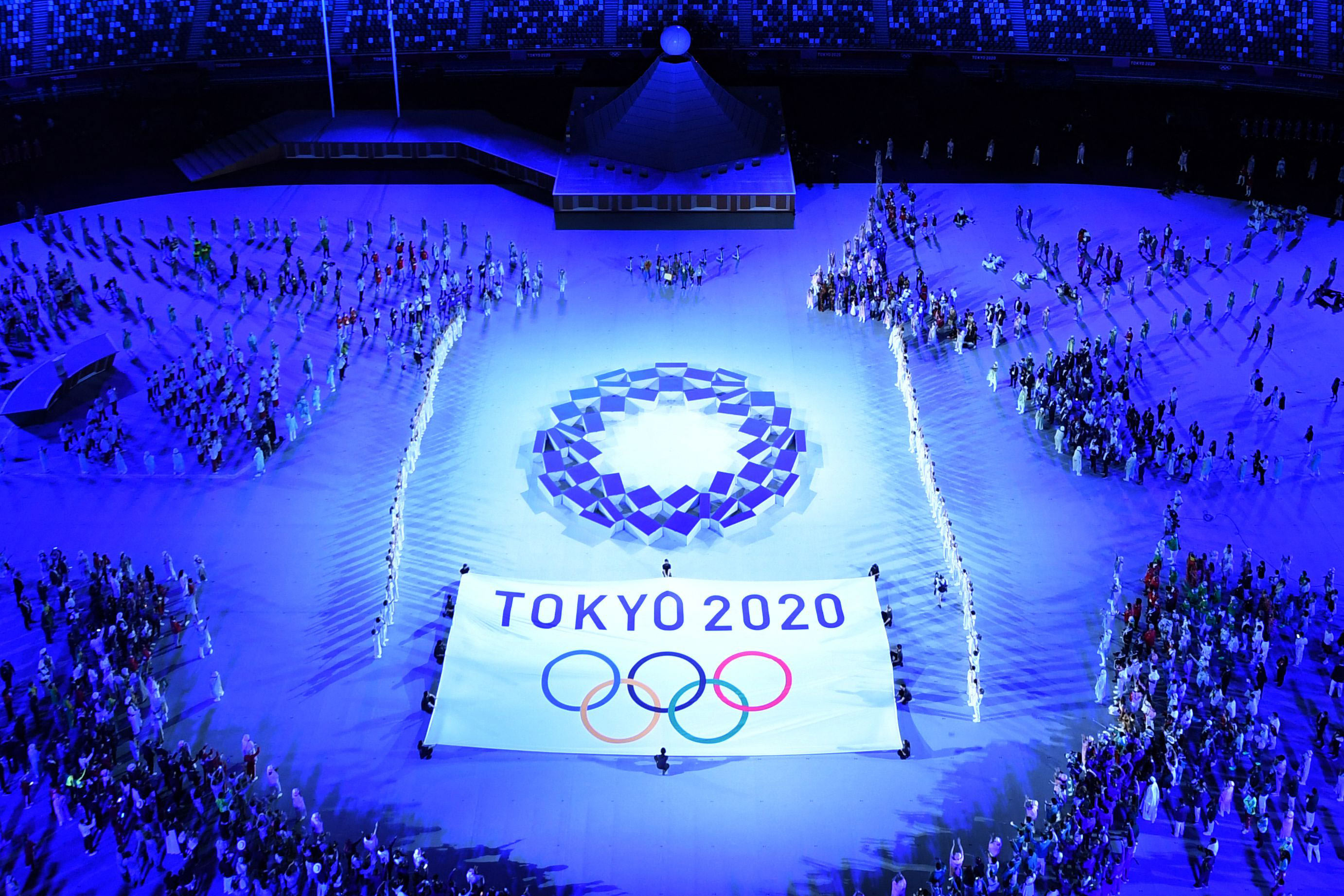 The Tokyo 2020 emblem is seen during the Opening Ceremony on July 23.