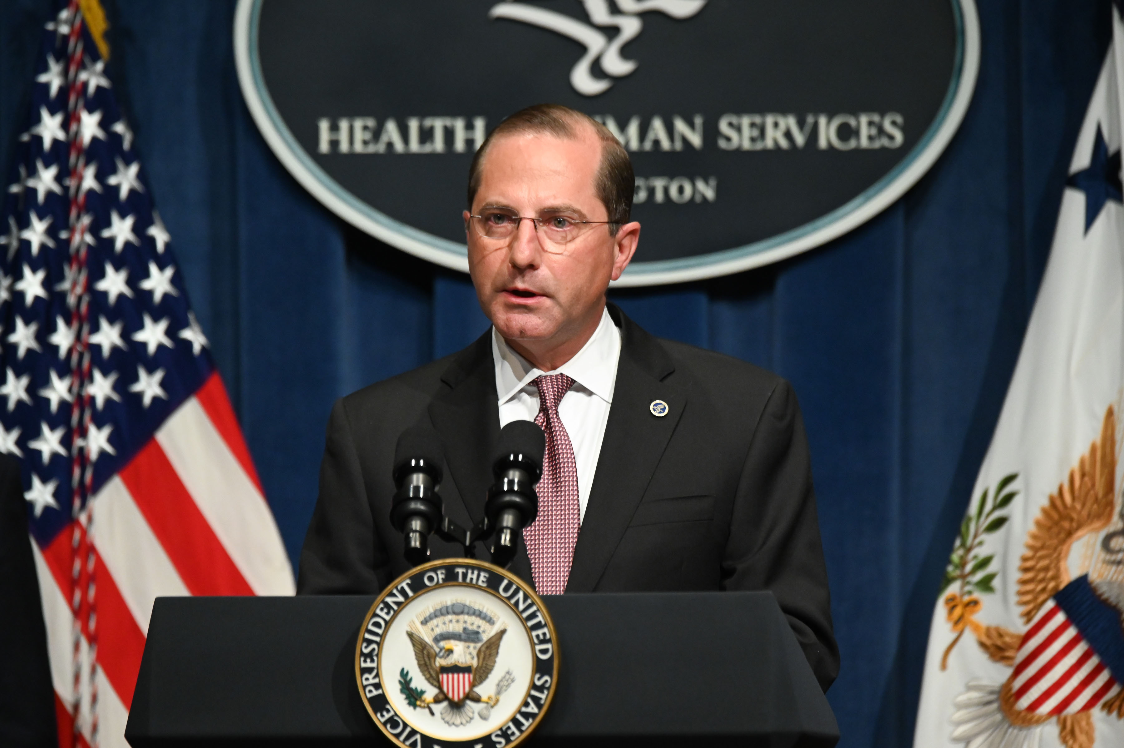 Alex Azar, US secretary of Health and Human Services, speaks during a coronavirus briefing in Washington on June 26.