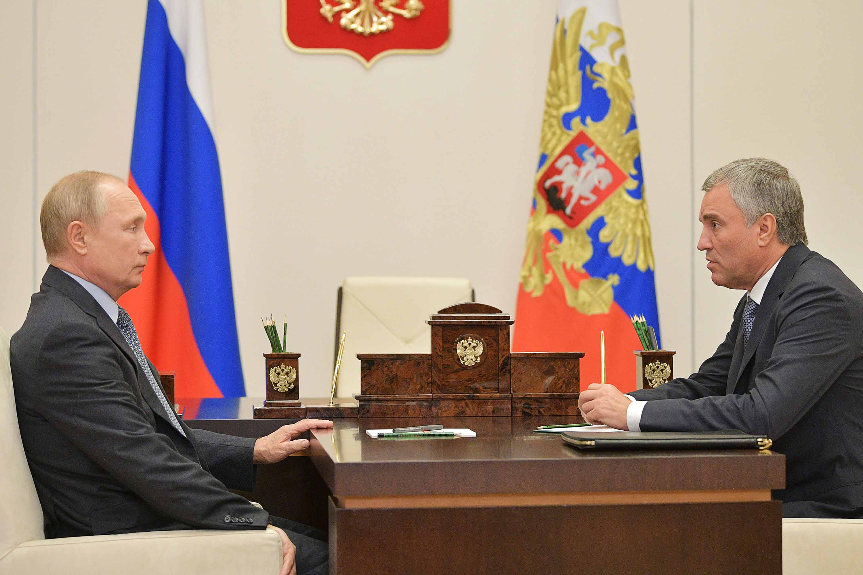Russia's President Vladimir Putin meets with Russian State Duma Chairman Vyacheslav Volodin in Moscow on October 26.