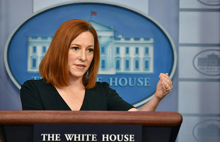White House Press Secretary Jen Psaki speaks during a press briefing at the White House on Tuesday, May 4.