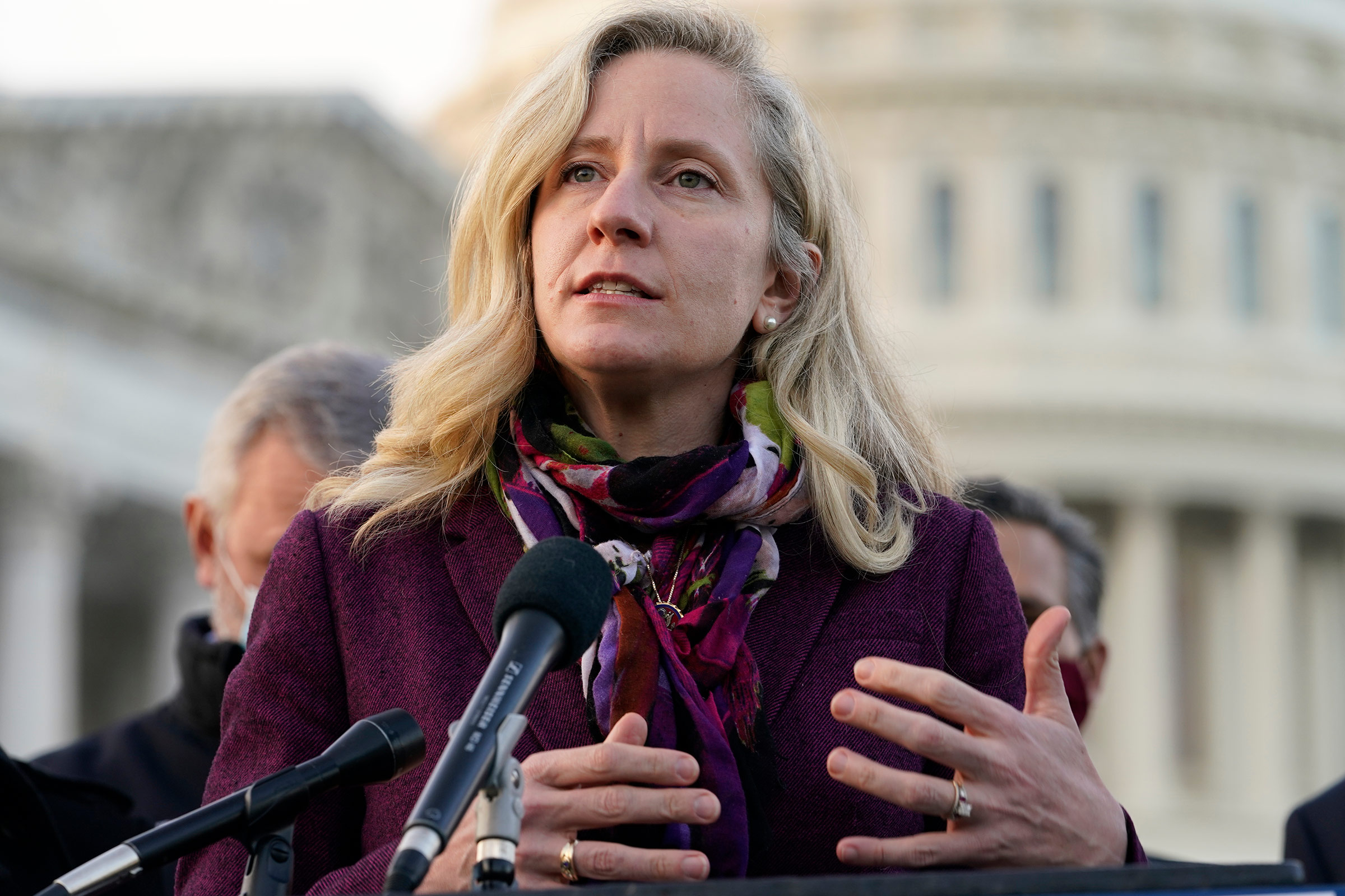 Rep. Abigail Spanberger speaks during a news conference on December 21, 2020, on Capitol Hill in Washington, DC.
