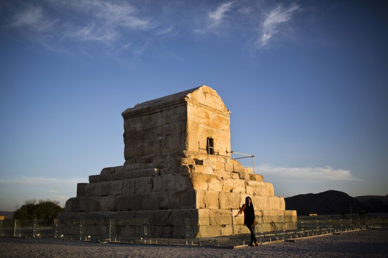 The tomb of Cyrus II of Persia, known as Cyrus the Great, the founder of the Persian Achaemenid Empire in 6th century BCE in the town of Pasargadae, northeast of the southern city of Shiraz.