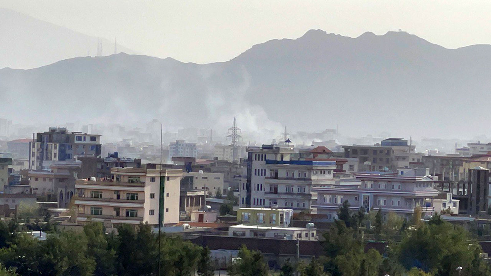 Smoke rises after an explosion in Kabul, Afghanistan, on August 29, 2021.