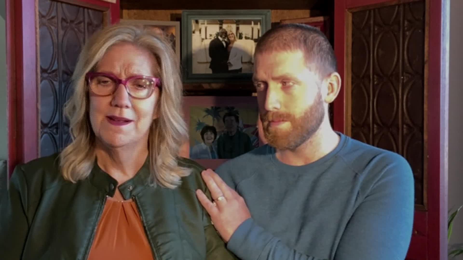 Lizanne Jennings, left, speaks alongside Brayden Jennings during an interview on December 1.