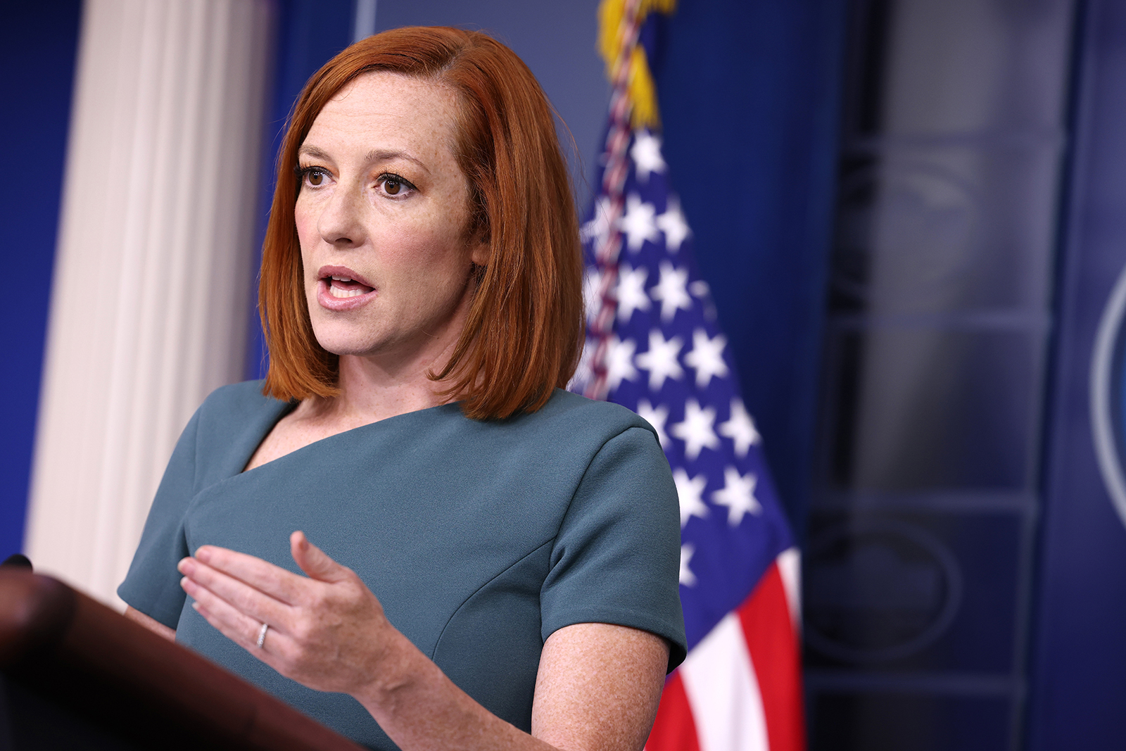 White House Press Secretary Jen Psaki gestures during a press conference in the James Brady Press Briefing Room of the White House on May 20, in Washington, DC.