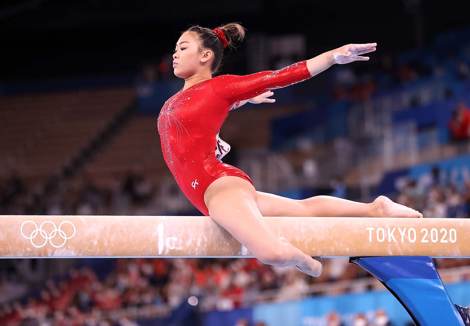 Team USA's Sunisa Lee competes during the women's balance beam final on August 3.