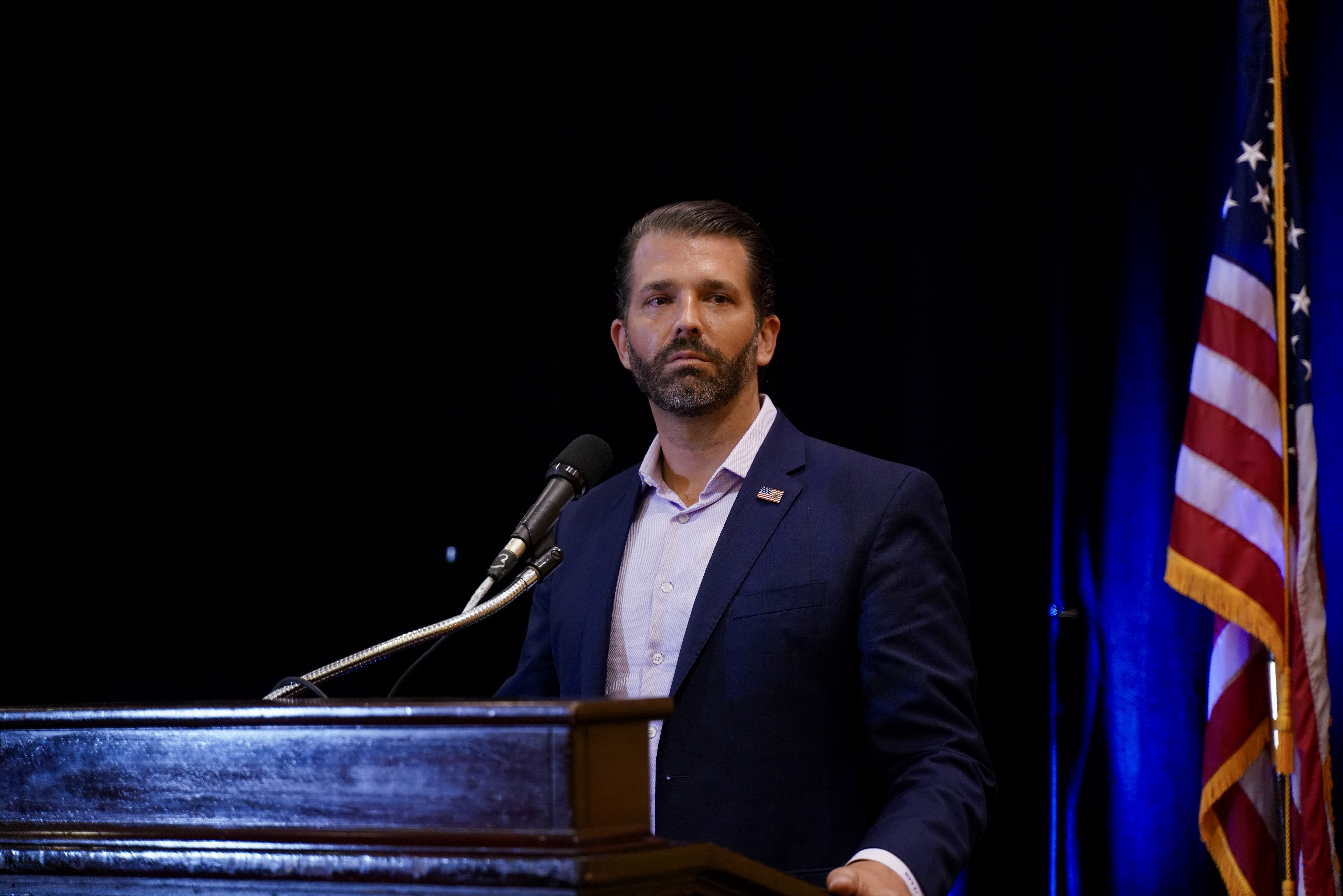 """Donald Trump Jr. attends a book signing to promote his book """"Liberal Privilege""""in Long Island, New York, on Sunday, October 18."""
