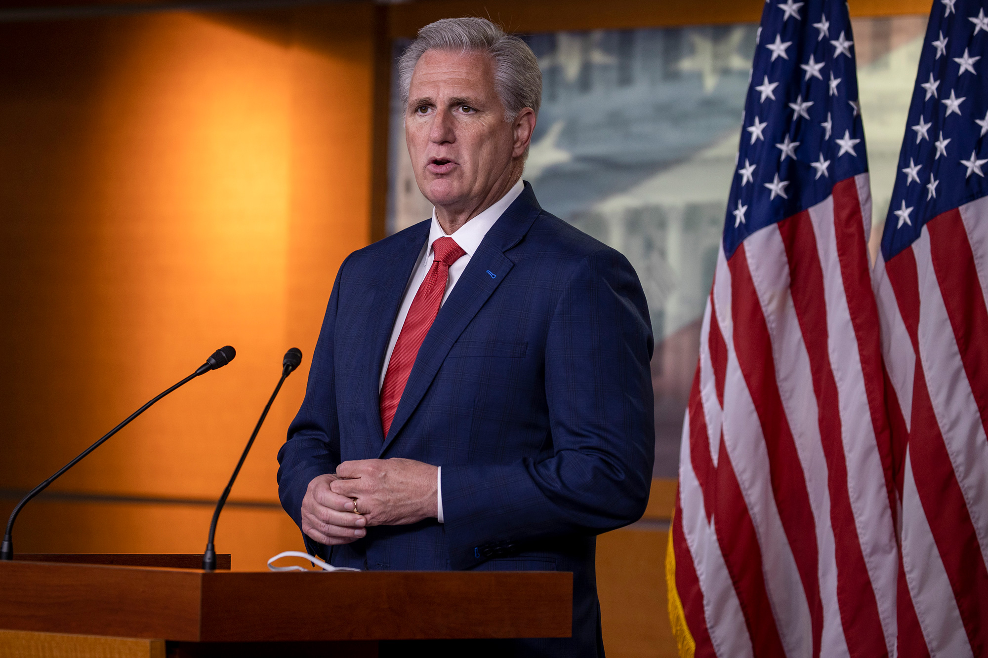 House Minority Leader Rep. Kevin McCarthy speaks at a press conference on Capitol Hill on July 2 in Washington, DC.