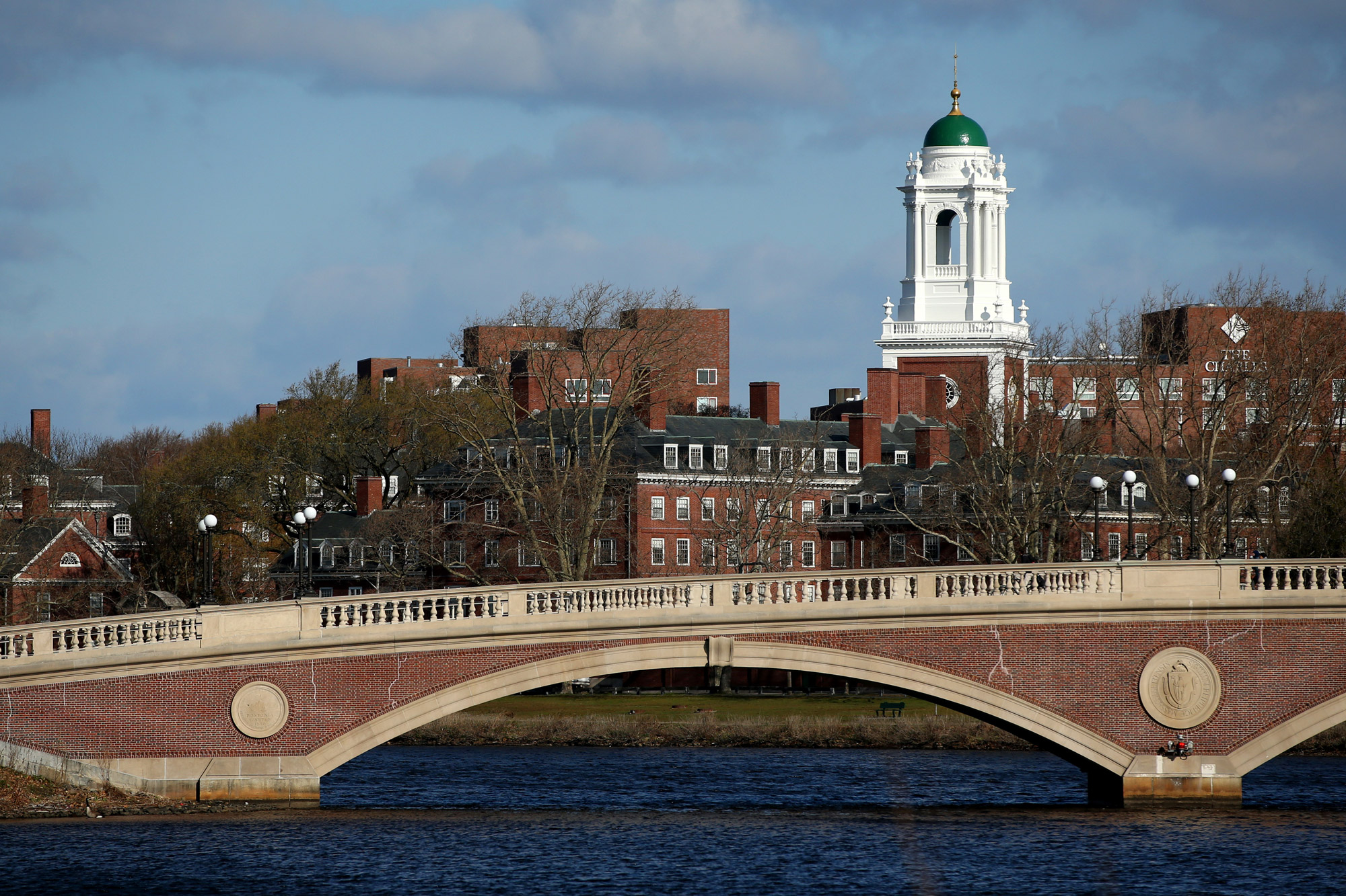 A general view of Harvard University campus is seen on April 22 in Cambridge, Massachusetts.