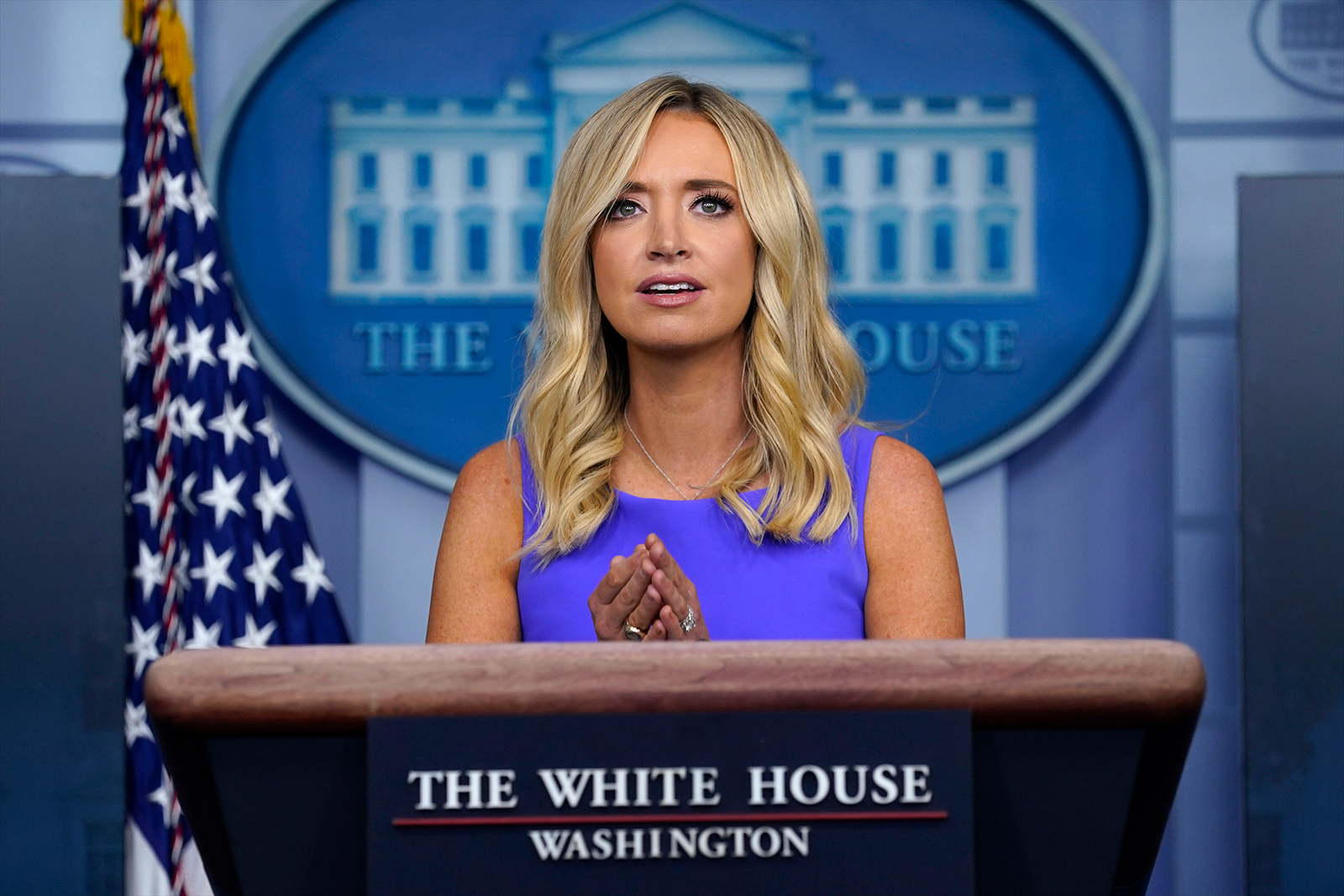 White House press secretary Kayleigh McEnany speaks during a briefing at the White House in Washington, on May 28.