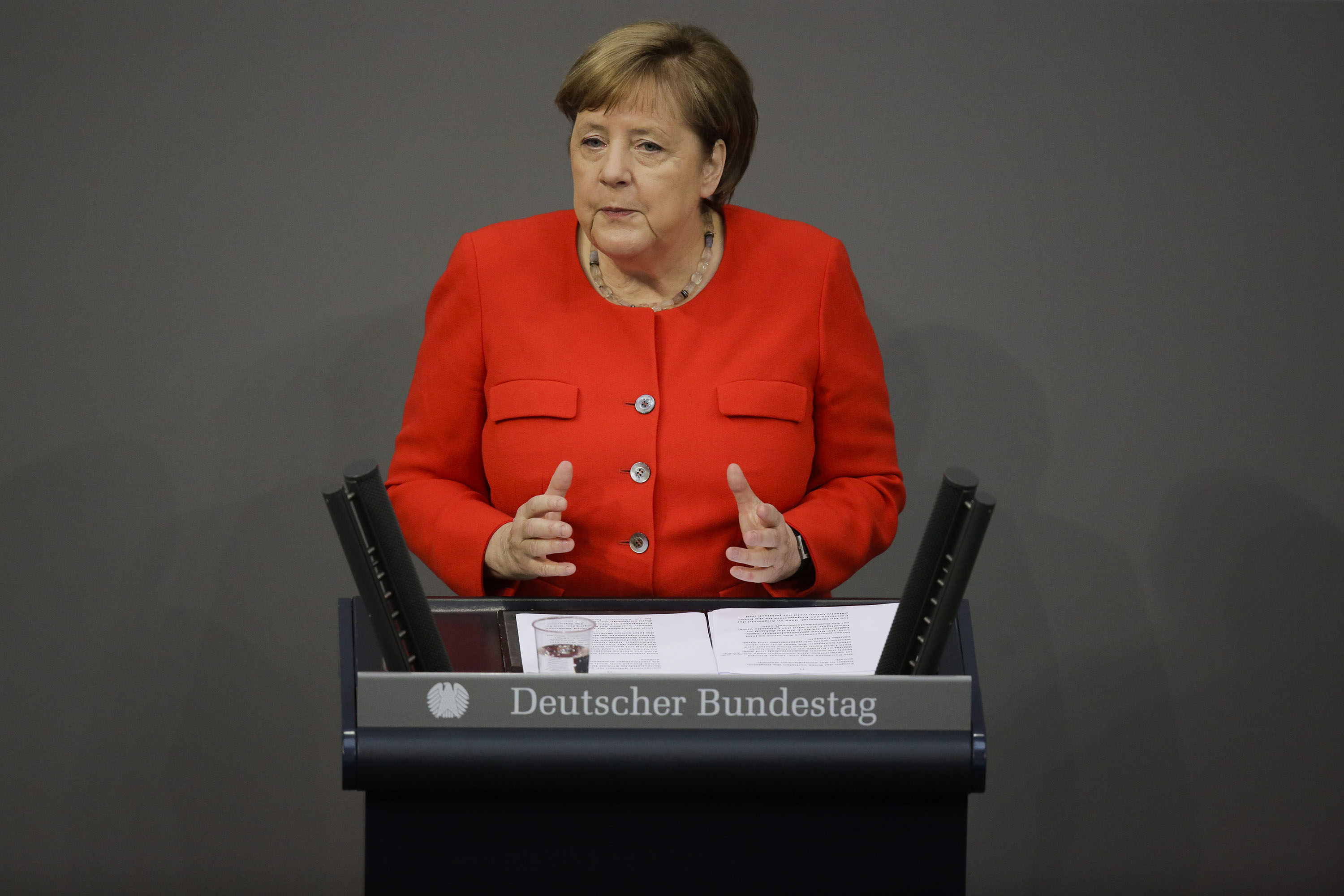 German Chancellor Angela Merkel addresses parliament in Berlin, Germany, on Thursday, June 18.