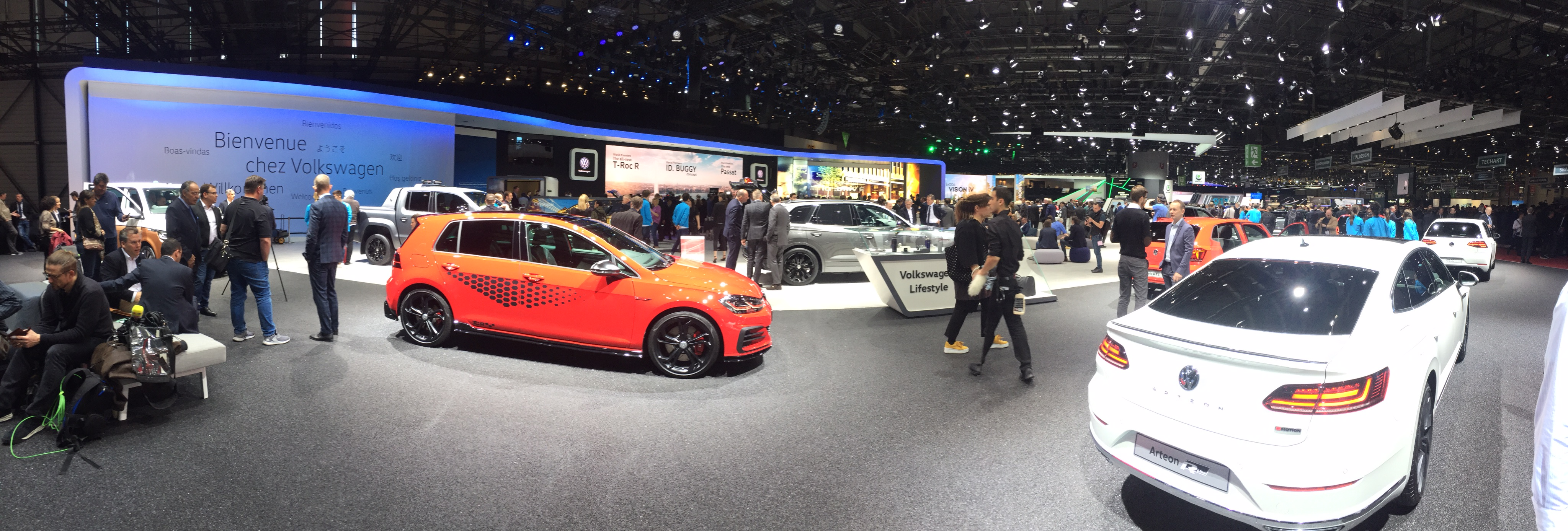 A panorama view of Volkswagen's area, which is among the largest in Geneva.