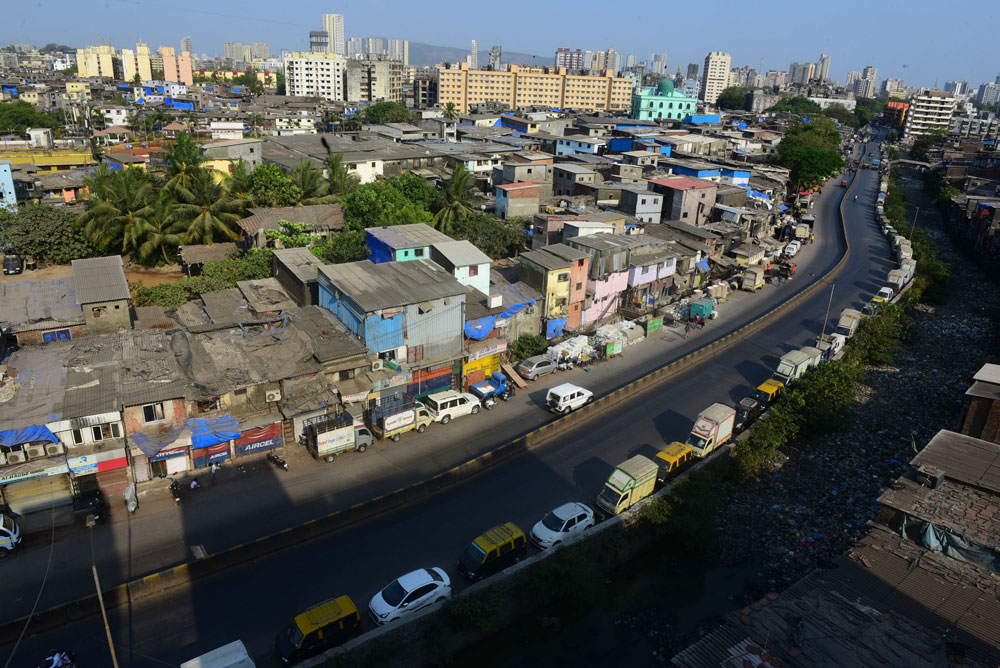 A deserted View of Mahim Dharavi Link roadduring restrictions on citizen's movement due to the coronavirus pandemic on March 30, near Mumbai, India.