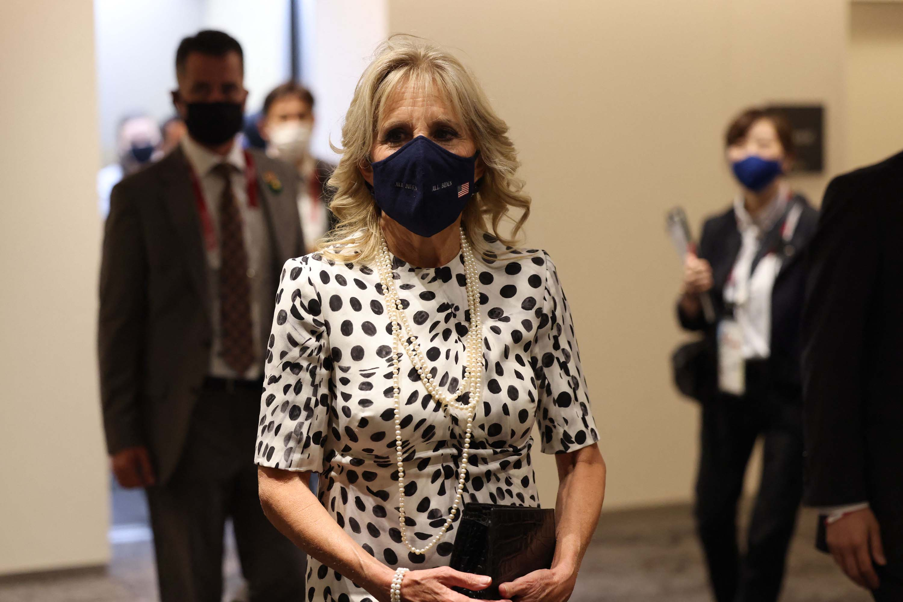 US First Lady Jill Biden arrives for the opening ceremony of the Tokyo 2020 Olympic Games.