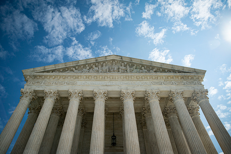 The U.S. Supreme Court stands on September 28, 2020 in Washington, DC.