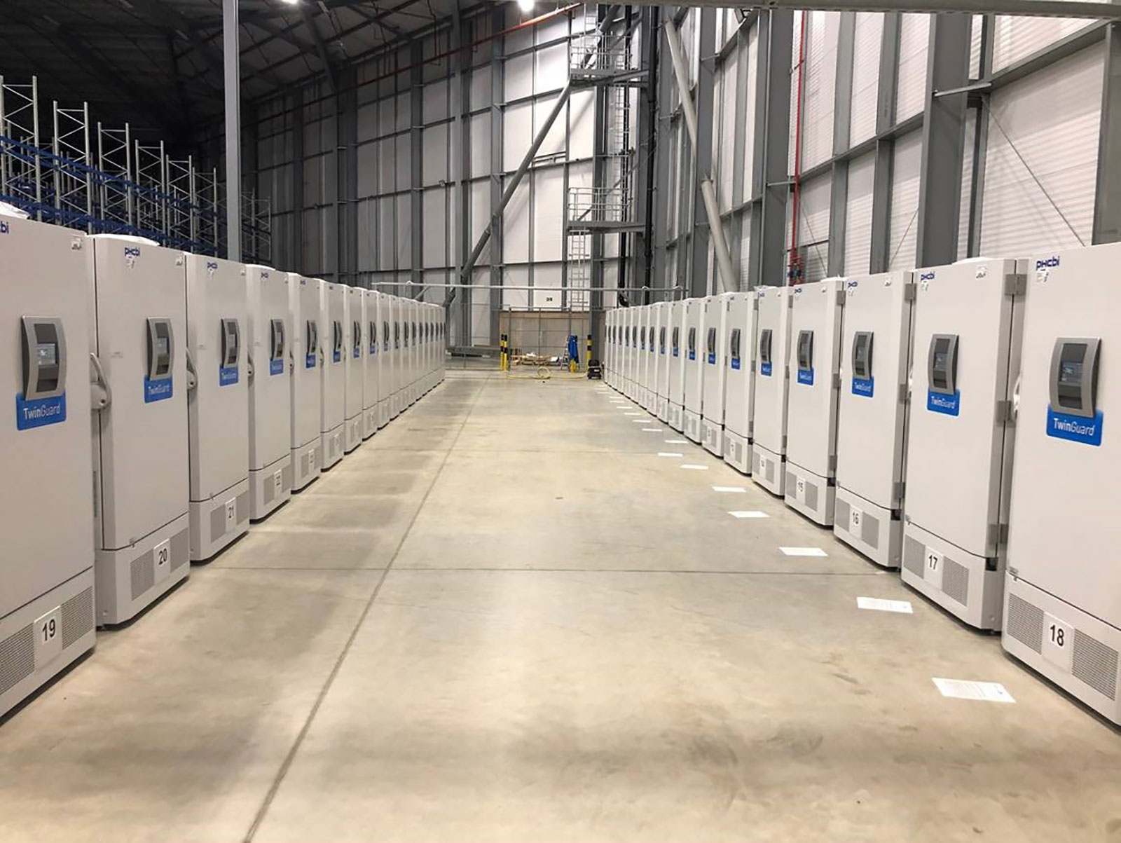 Specialist Covid-19 vaccine freezers in a secure location, awaiting distribution of the vaccines to the NHS.