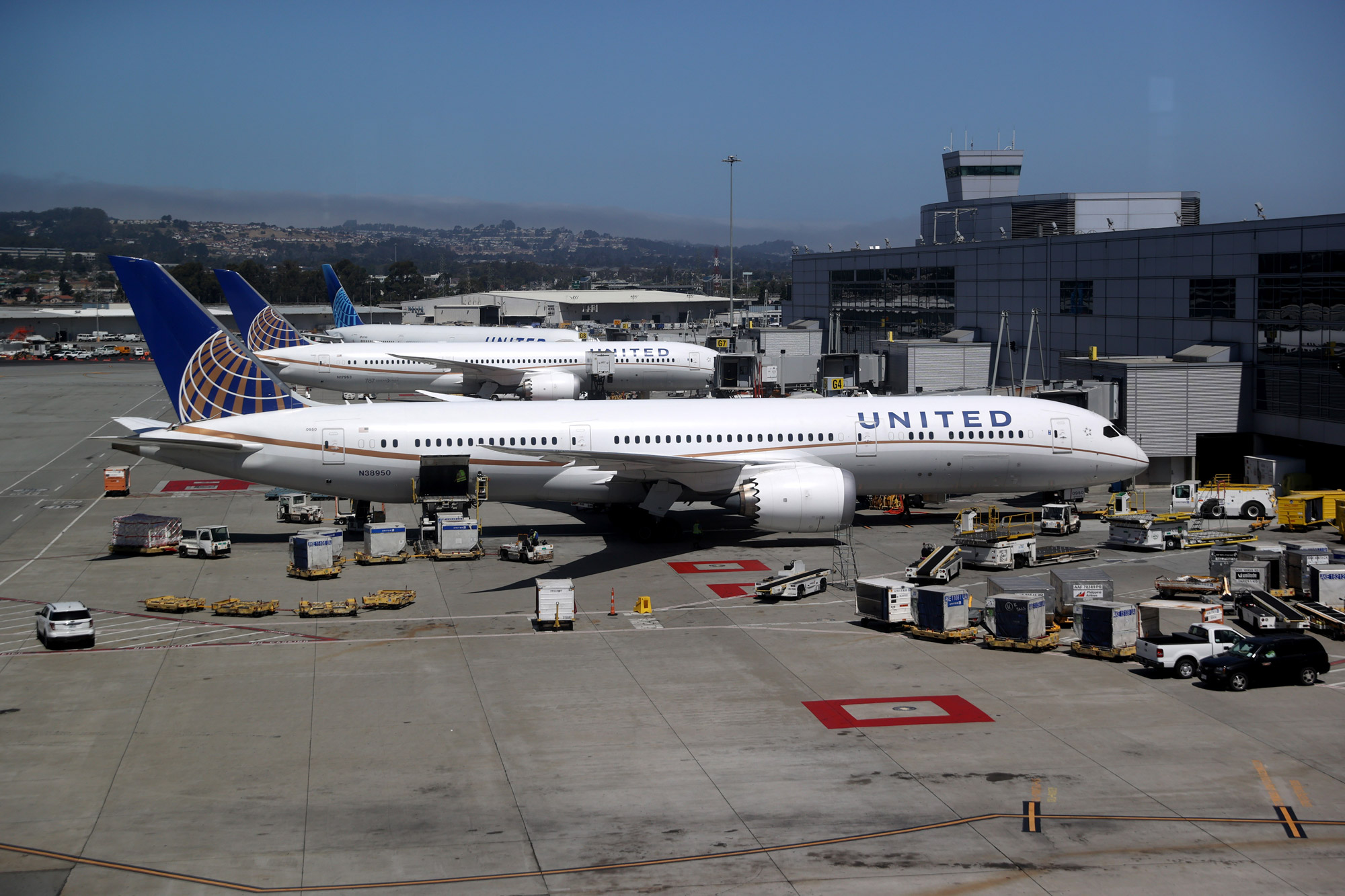United Airlines planes sit parked at San Francisco International Airport on July 8 in San Francisco.