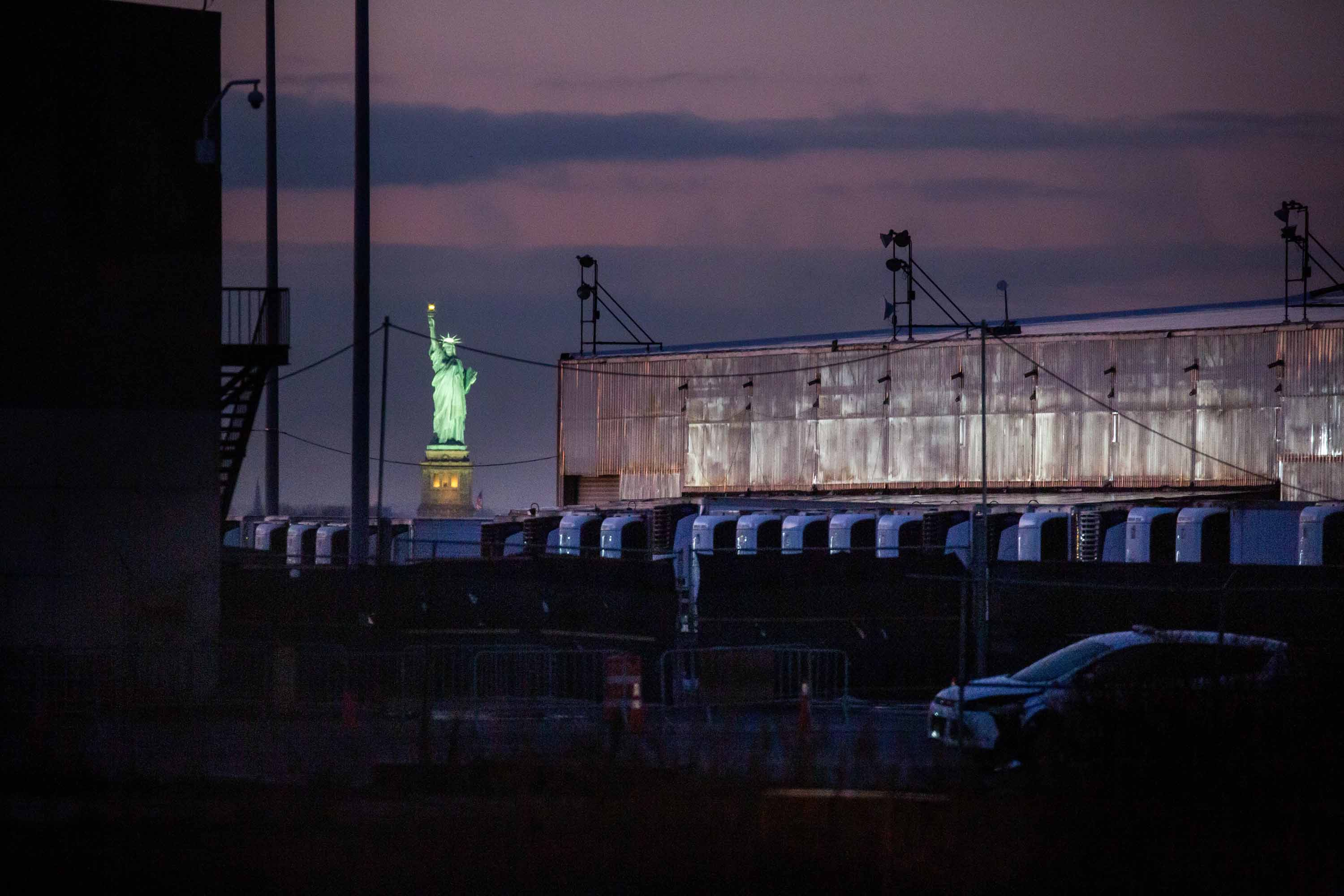 A Covid-19 disaster morgue made up of refrigerated trailers stands at the South Brooklyn Marine Terminal in New York, on December 14, 2020.