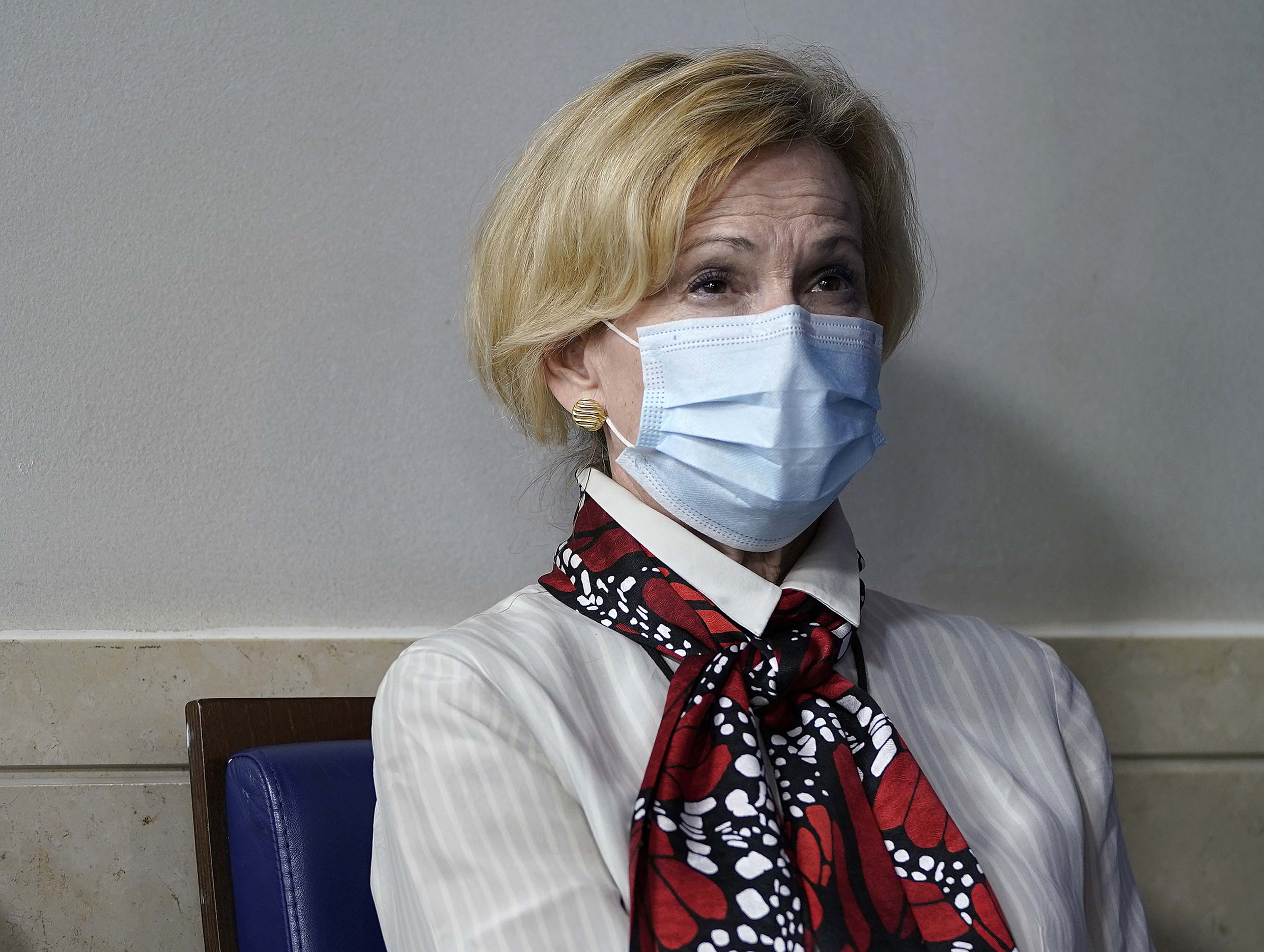 White House coronavirus task force coordinator Dr. Deborah Birx listens as President Donald Trump speaks during a news conference about his administration's response to the ongoing coronavirus pandemic at the White House on July 23.