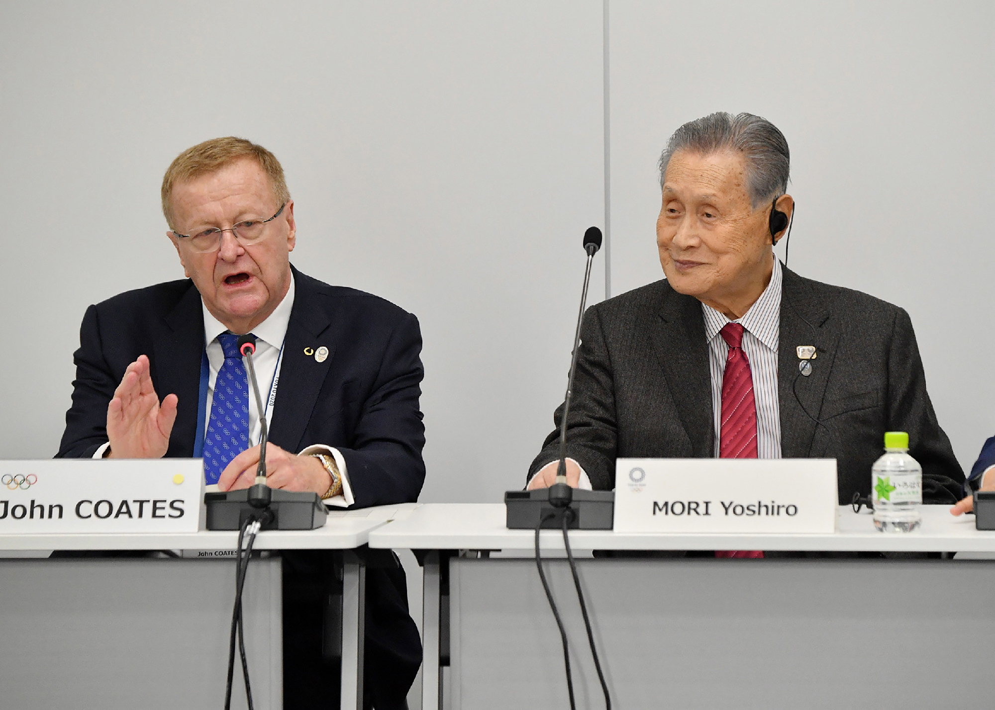 Chairman of the Tokyo 2020 Olympic Games coordination committee John Coates, left, and Tokyo 2020 president Yoshiro Mori attend the International Olympic Committee (IOC) project review meeting in Tokyo on February 13.
