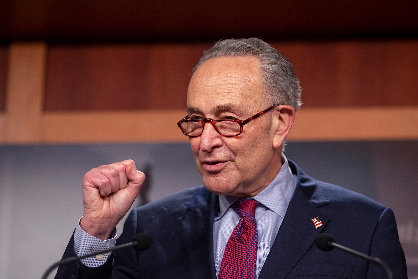 Senate Majority Leader Sen. Chuck Schumer speaks to the press at the Capitol on March 6, in Washington, DC.
