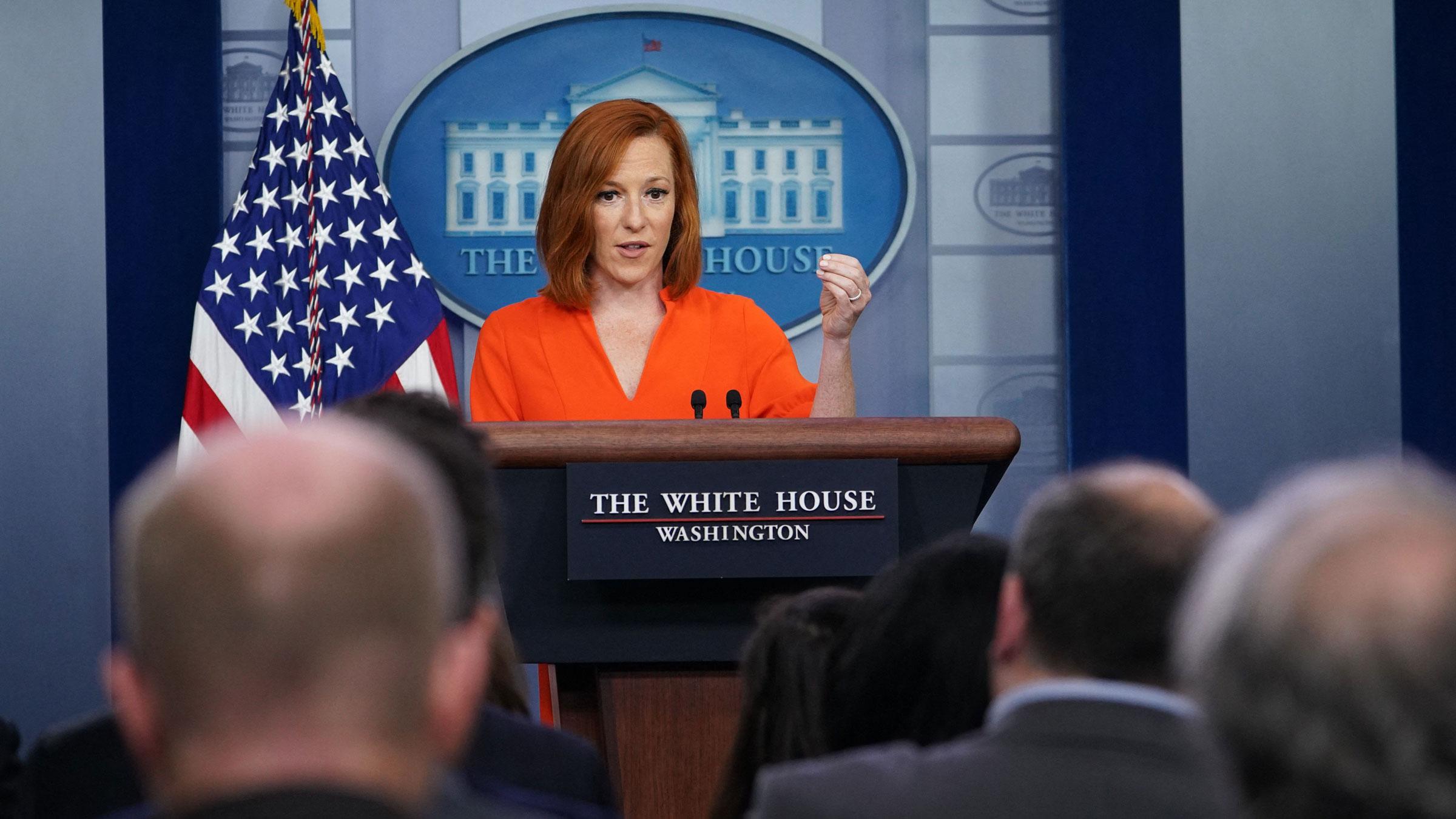 White House press secretary Jen Psaki speaks during Monday's daily briefing.