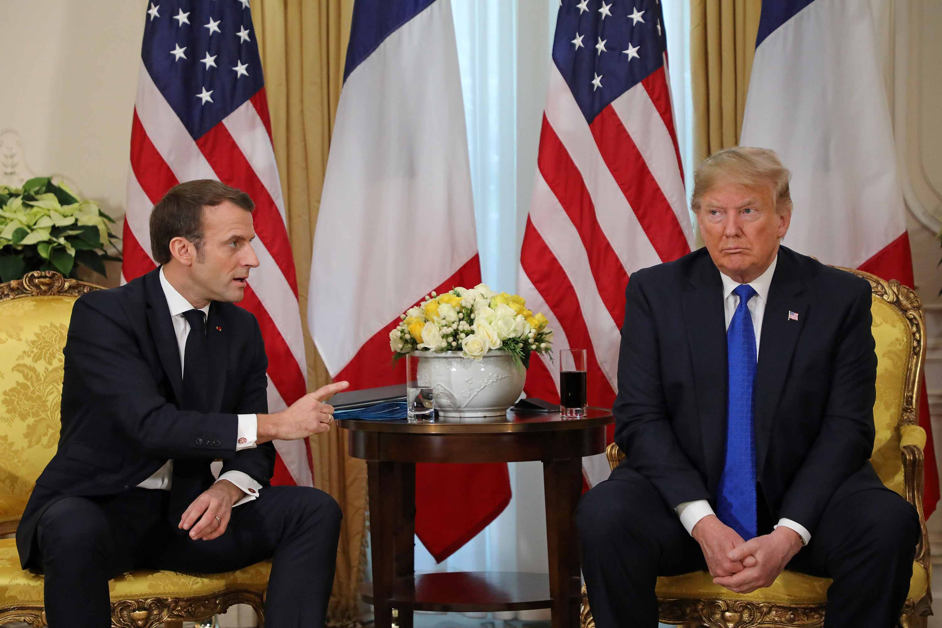 French President Macron and US President Trump give a press conference at Winfield House in London on Tuesday.