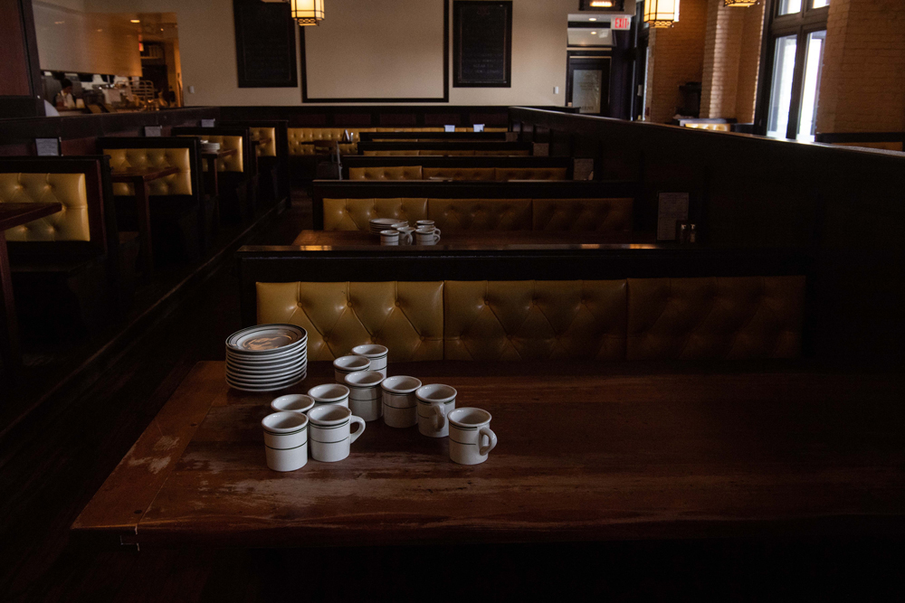 An empty restaurant serving only takeout due to the coronavirus outbreak is seen in Washington, DC, on March 18.