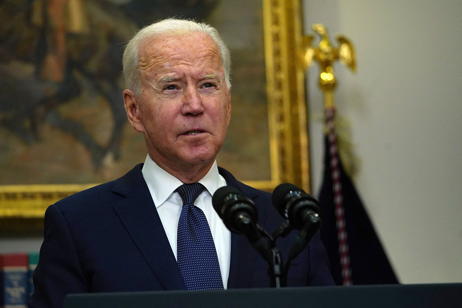 US President Joe Biden speaks during an update on the situation in Afghanistan and the effects of Tropical Storm Henri in the Roosevelt Room of the White House in Washington, DC on August 22, 2021. (Photo by Andrew Caballero-Reynolds / AFP) (Photo by ANDREW CABALLERO-REYNOLDS/AFP via Getty Images)