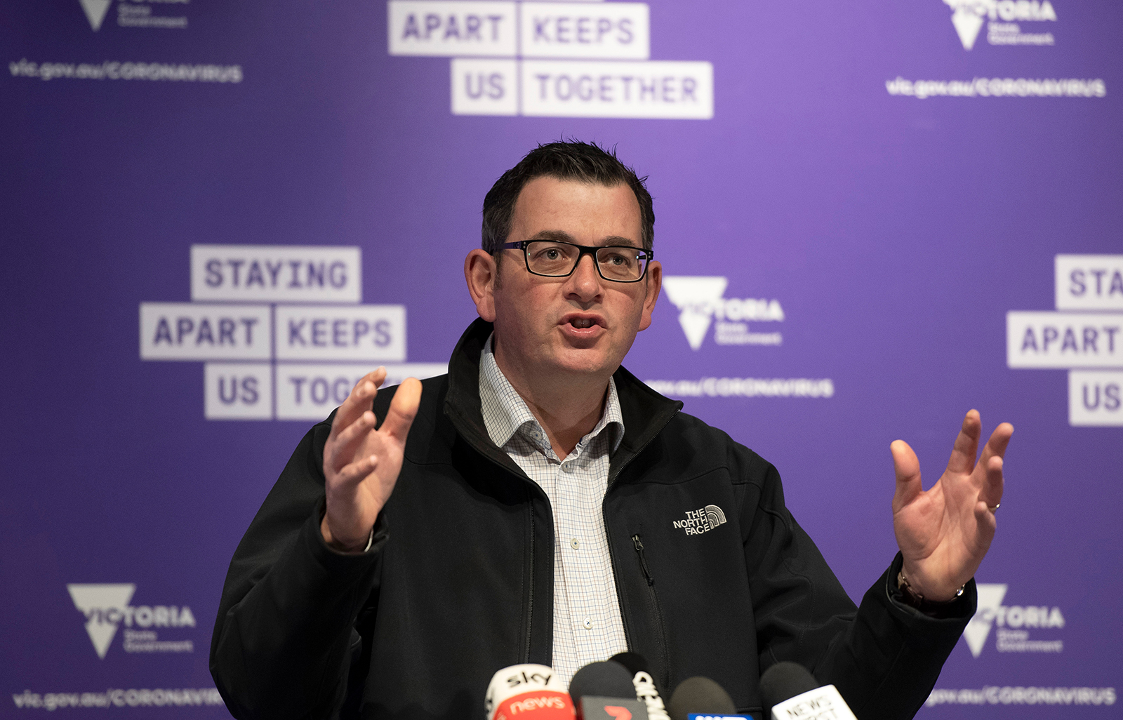 Victorian Premier Daniel Andrews briefs the media on conditions concerning the Covid-19 situation in Melbourne, Australia, on July 6.