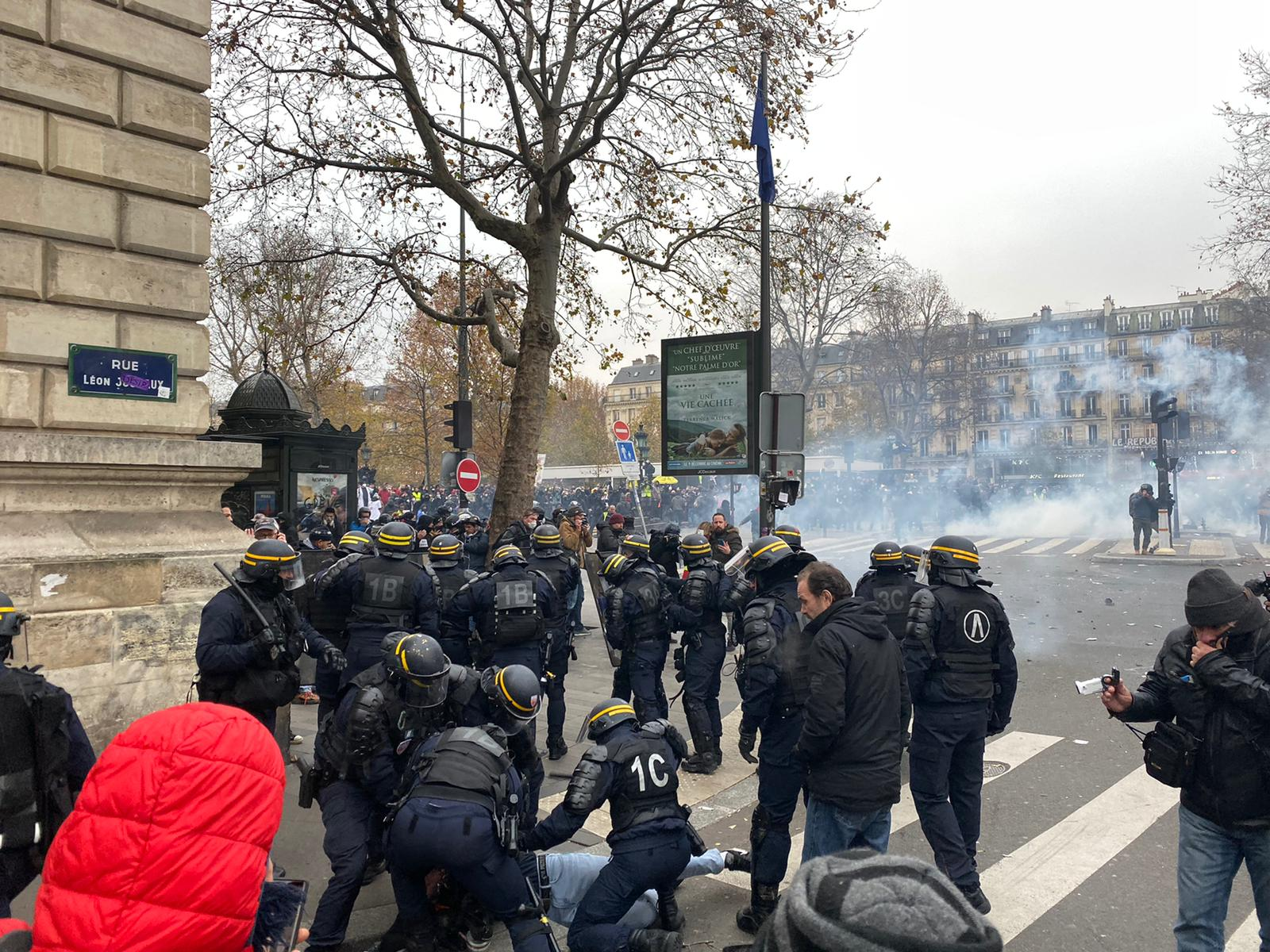 Police deployed tear gas in an attempt to disperse protesters.