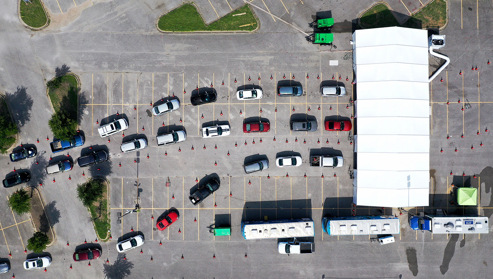 People wait in line at a drive-thru Covid-19 testing site in Dallas, Texas, on July 2.