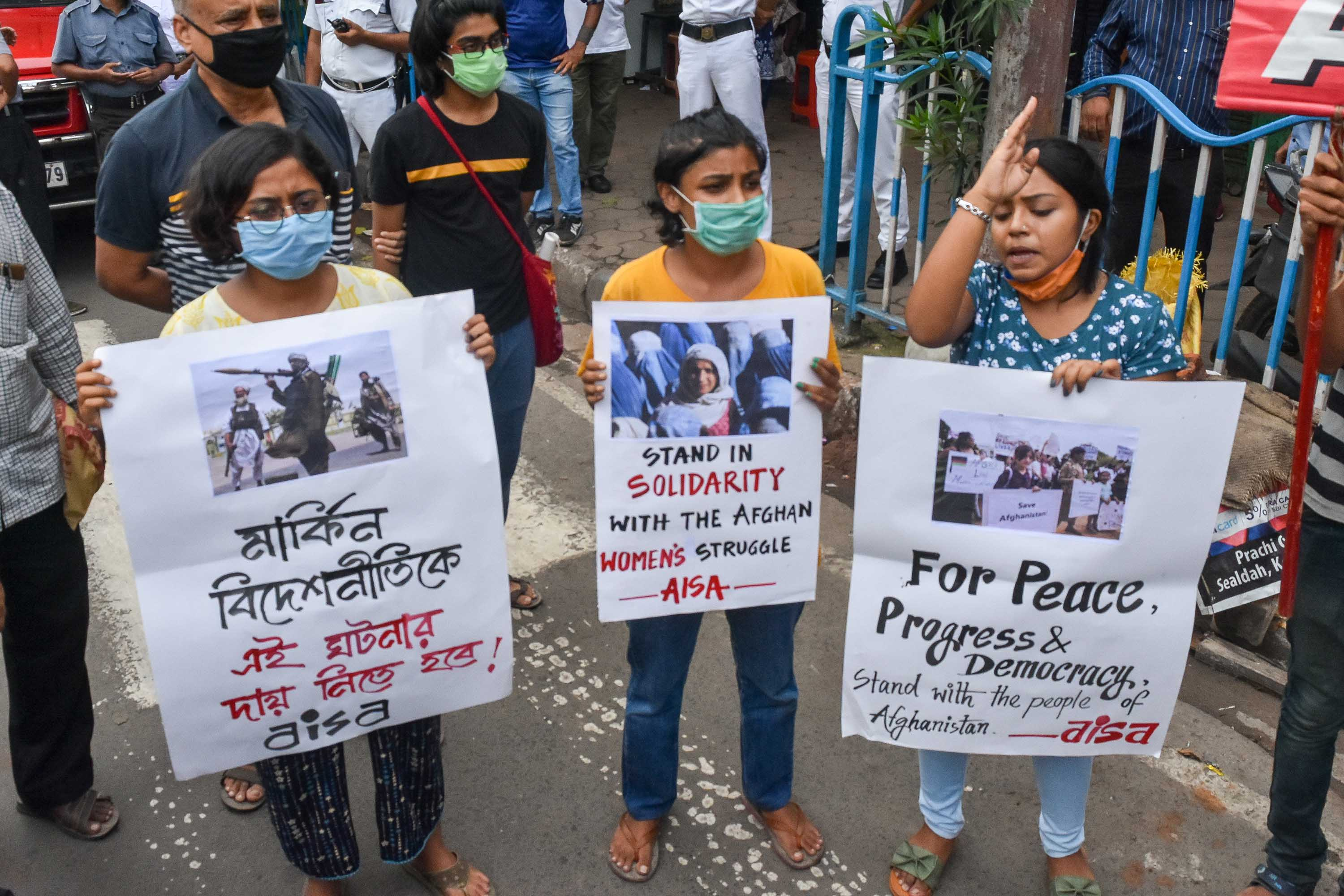Members of the group 'All Indian Students Association' demonstrate in Kolkata, India, on Wednesday.