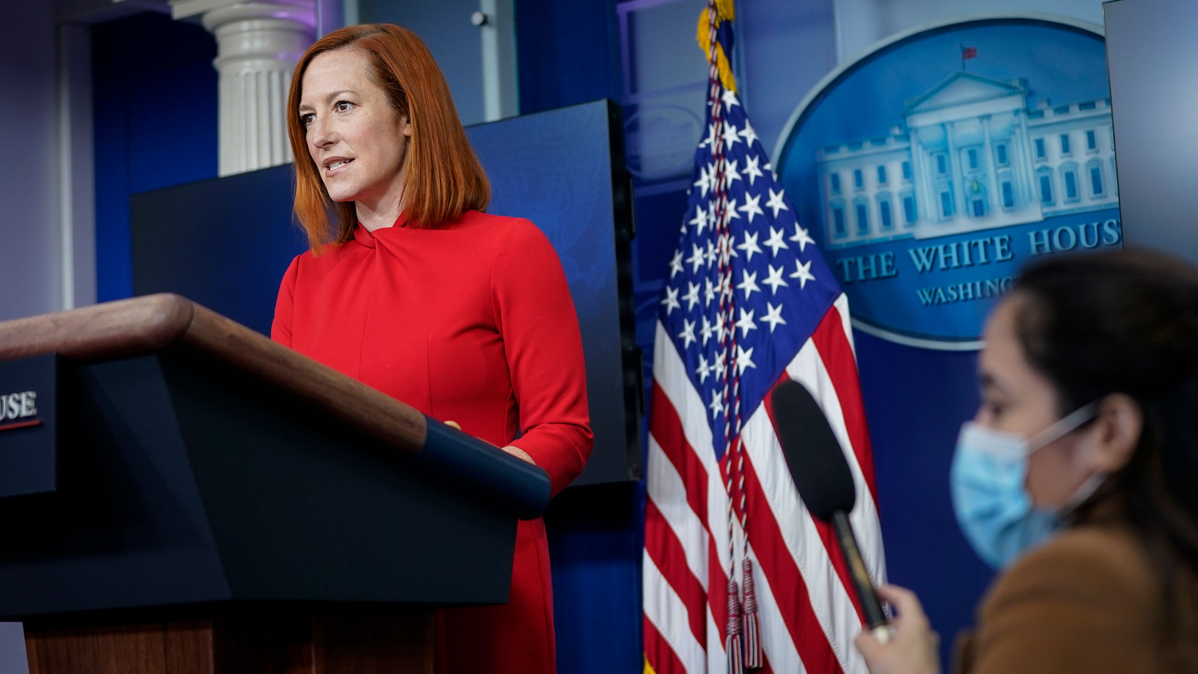 White House press secretary Jen Psaki speaks during a daily news briefing on Wednesday.