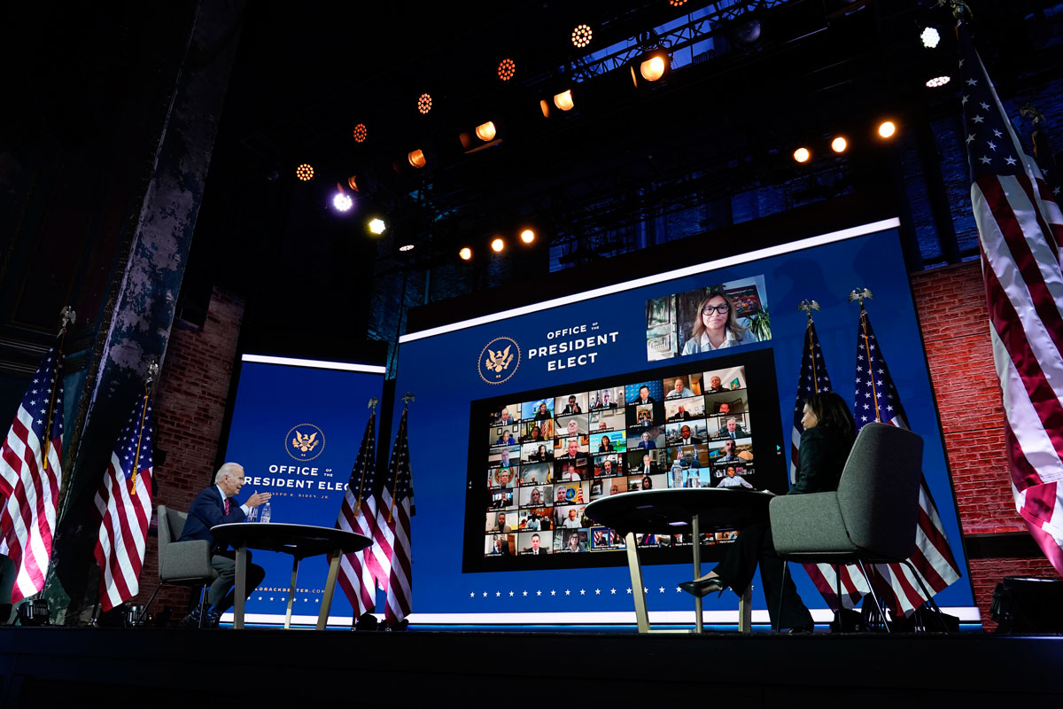 President-elect Joe Biden speaks during a meeting with Vice President-elect Kamala Harris and others at The Queen theater on November 23, in Wilmington, Delaware.