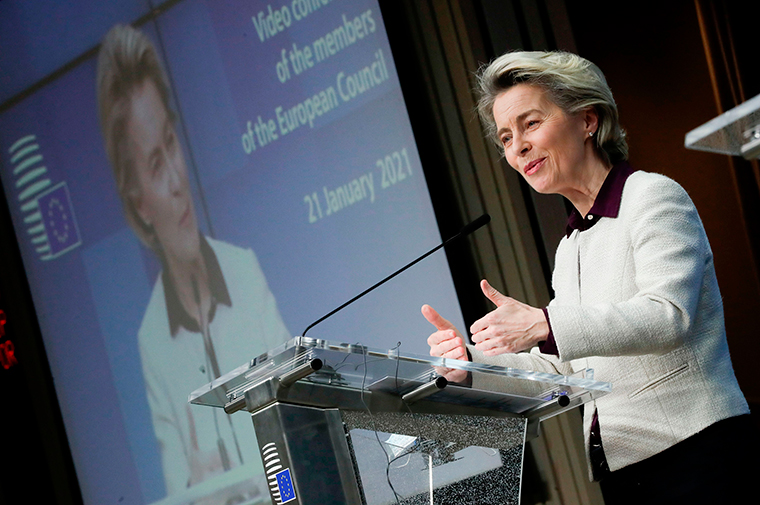European Commission President Ursula von der Leyen speaks during a video conference meeting of the members of the European Council focused on the Covid-19 (novel coronavirus) pandemic, in Brussels, on January 21.