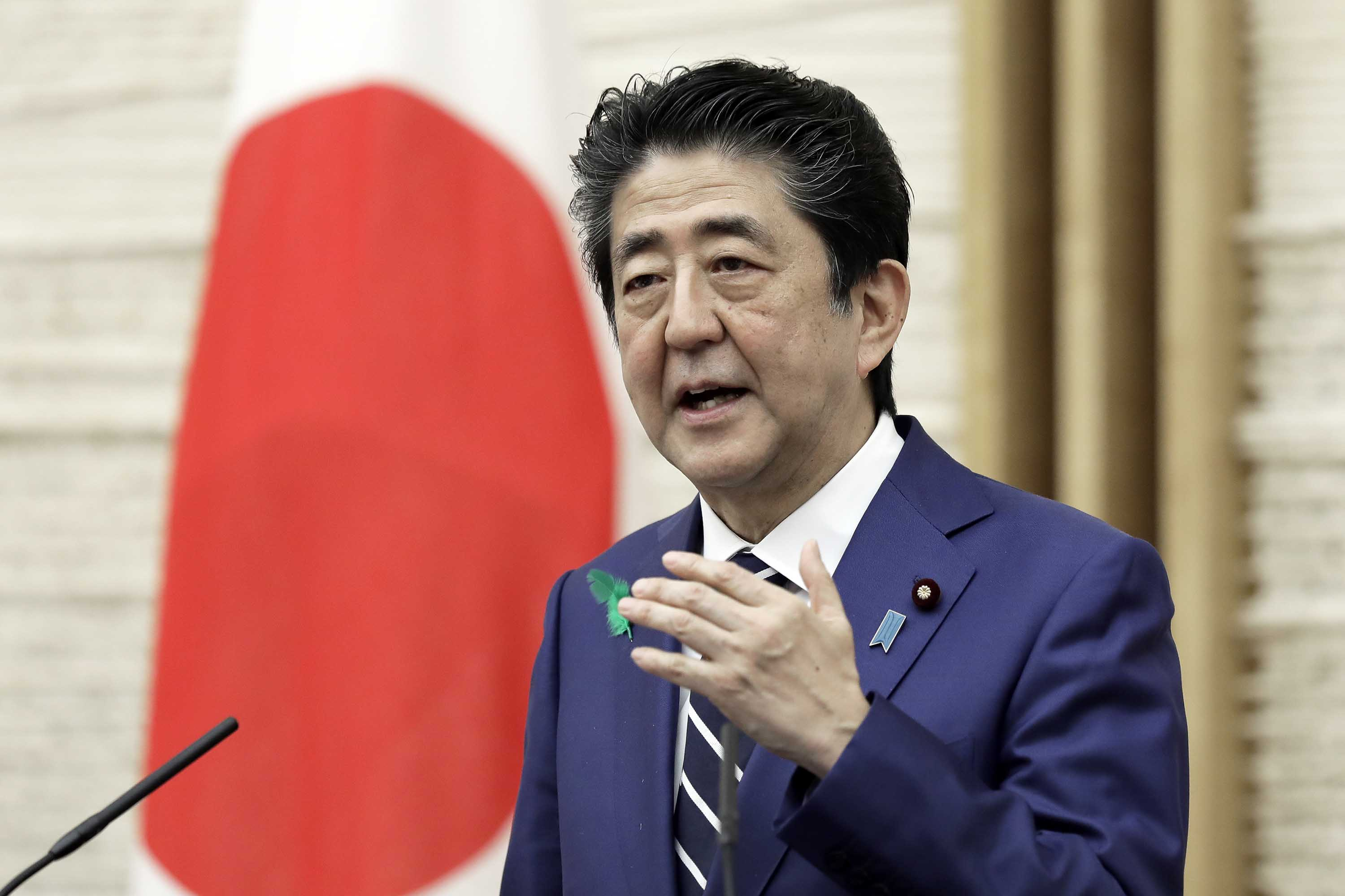 Japan's Prime Minister Shinzo Abe speaks during a news conference in Tokyo, Japan, on April 17.