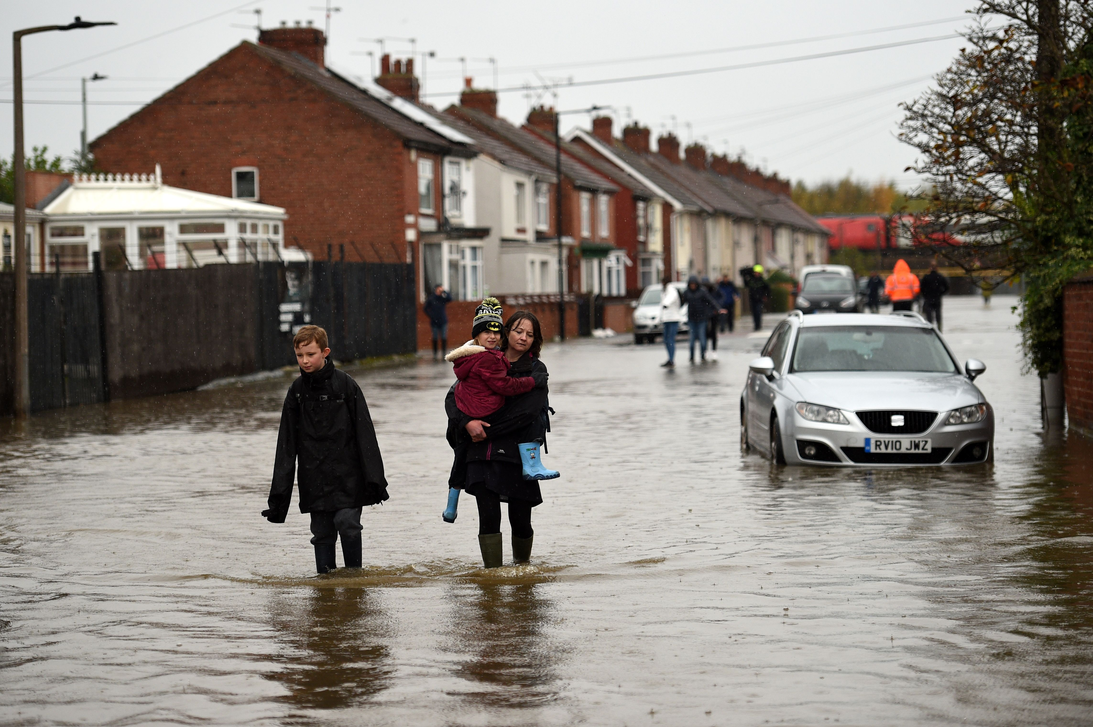 Over a month's worth of rain fell on parts of England Thursday, with some people forced to evacuate their homes.