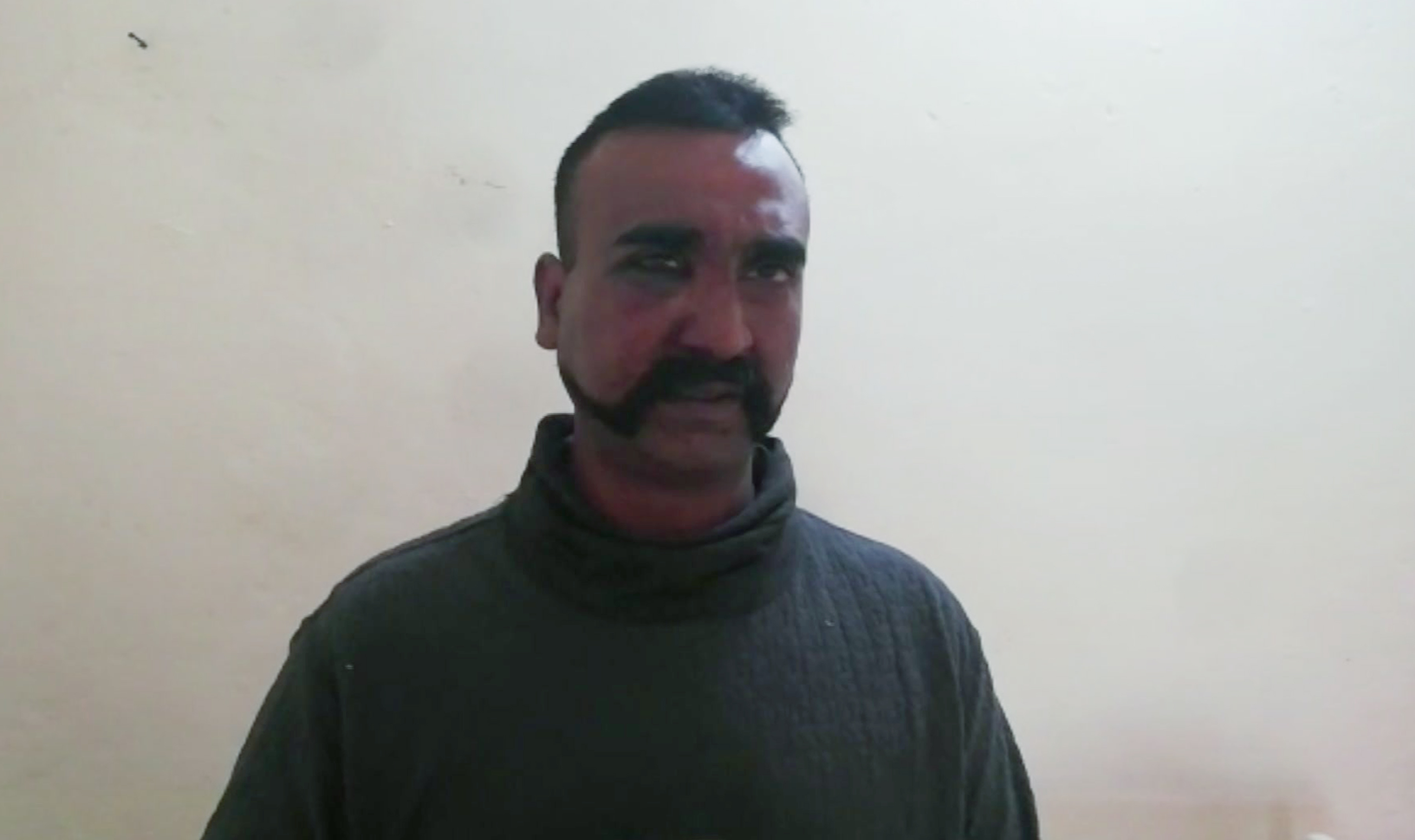 An image taken from a video released by Pakistan's military shows an Indian pilot identified as Wing Commander Abhinandan.