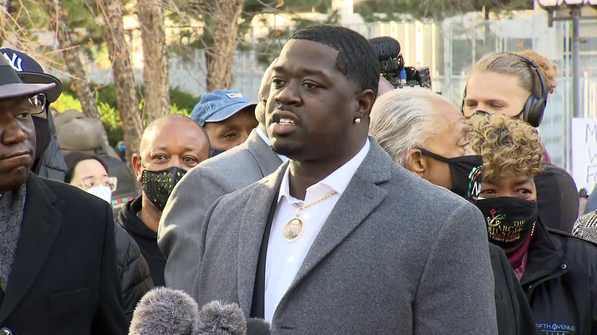 Brandon Williams, nephew of George Floyd, speaks during a press conference in Minneapolis,