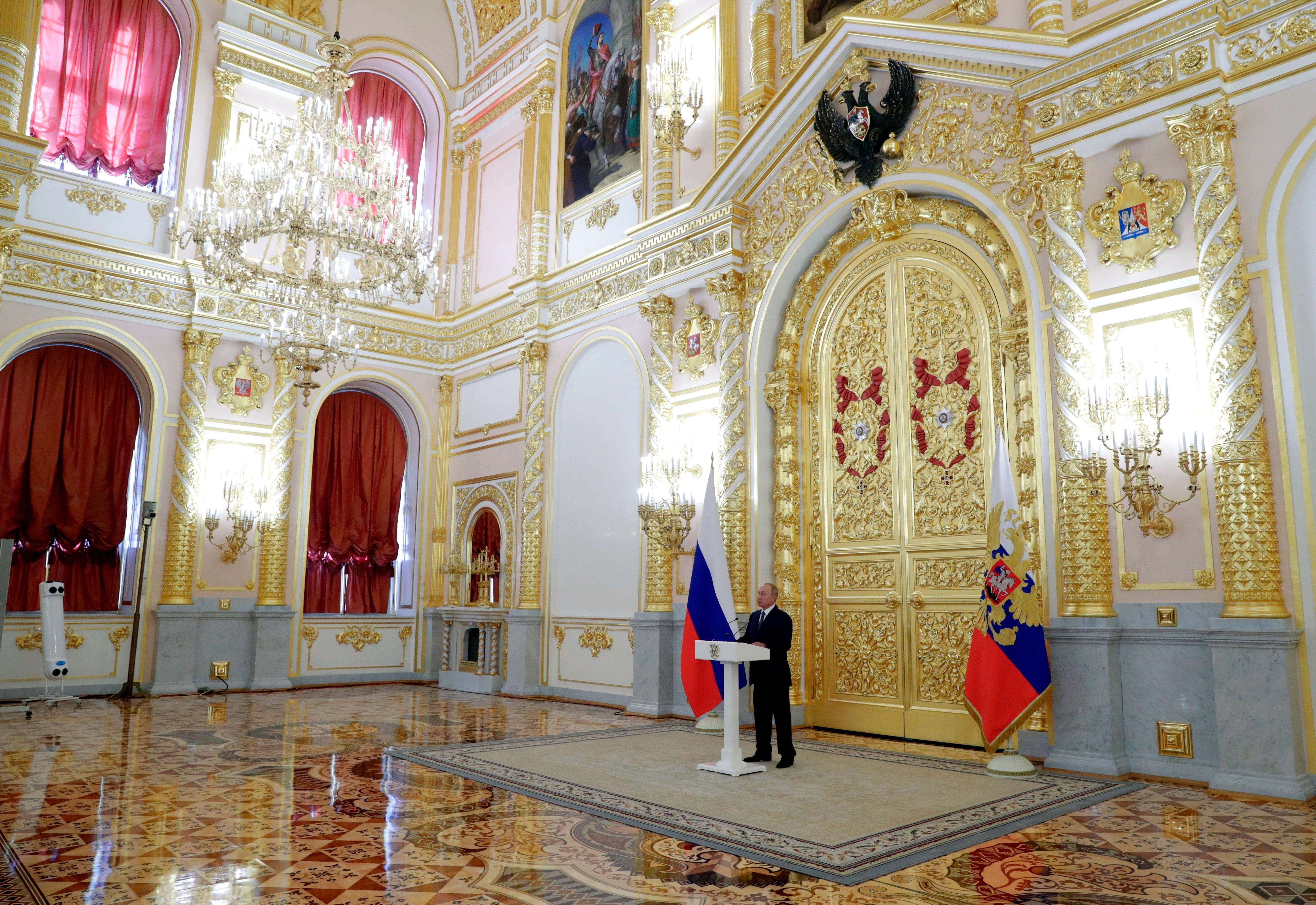 Russian President Vladimir Putin speaks at the Kremlin in Moscow on September 23.