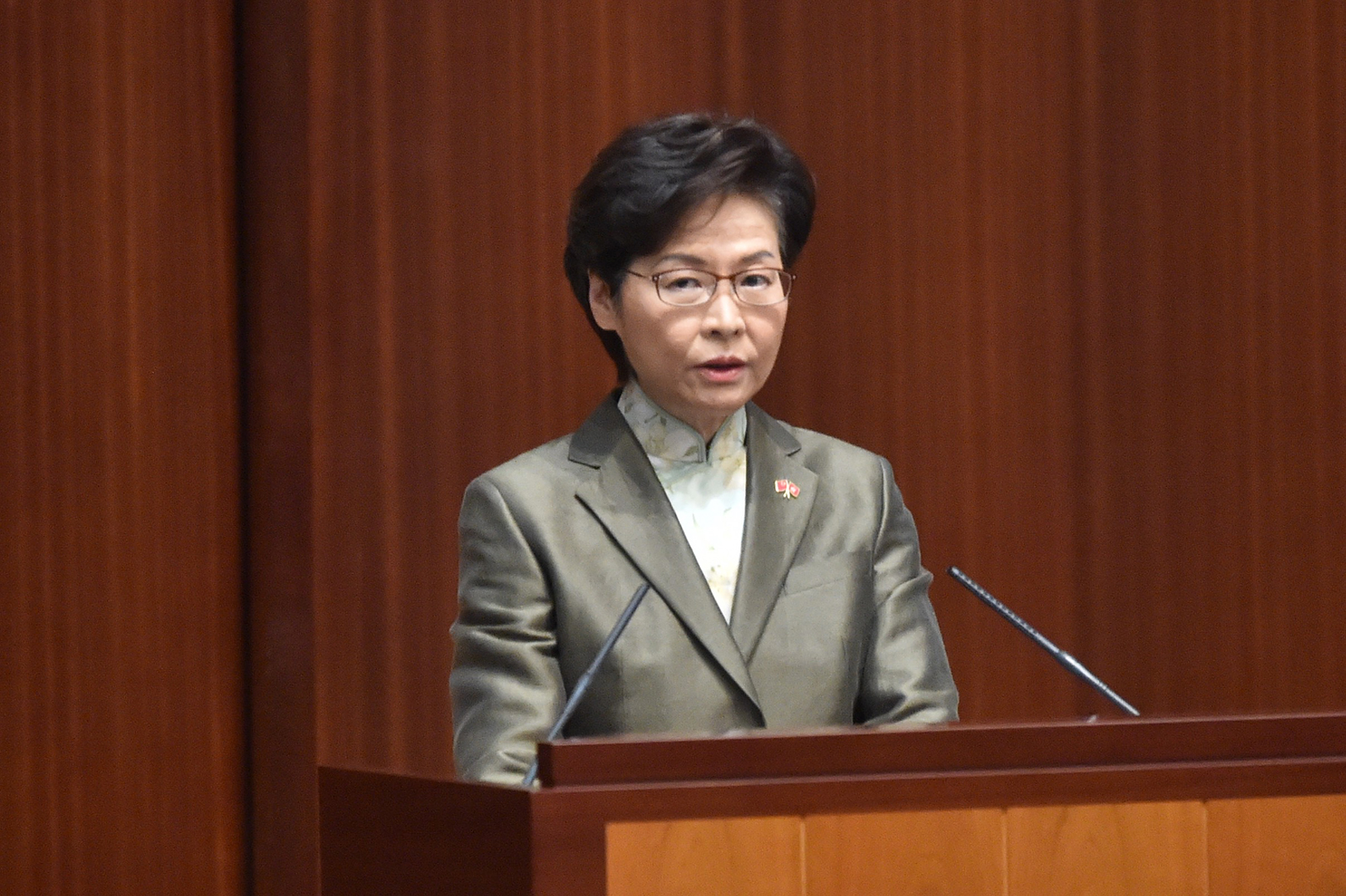 Hong Kong Chief Executive Carrie Lam delivers her annual policy address at the Legislative Council in Hong Kong, on Nov. 25.