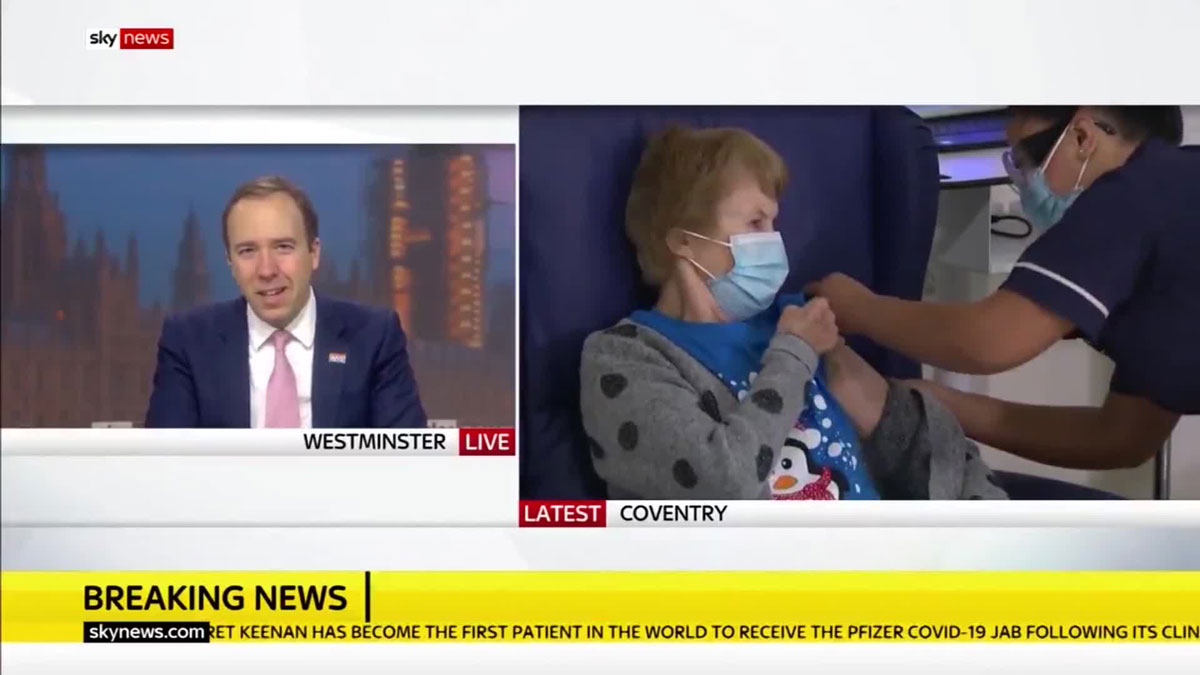 UKHealth Secretary Matt Hancock appears on Sky News on Tuesday, December 8.