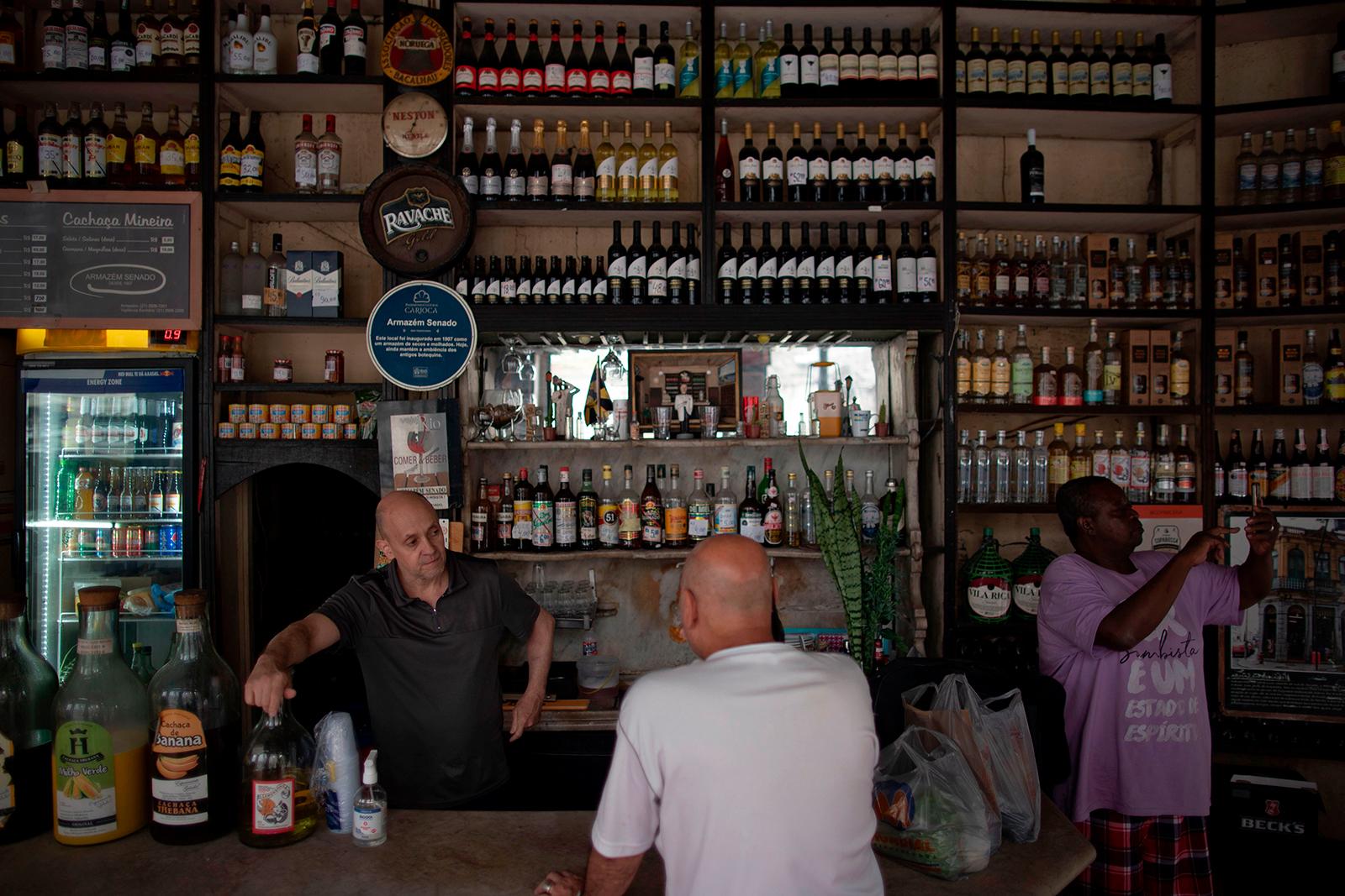 People gather in a bar in Rio de Janeiro, Brazil, on July 2.